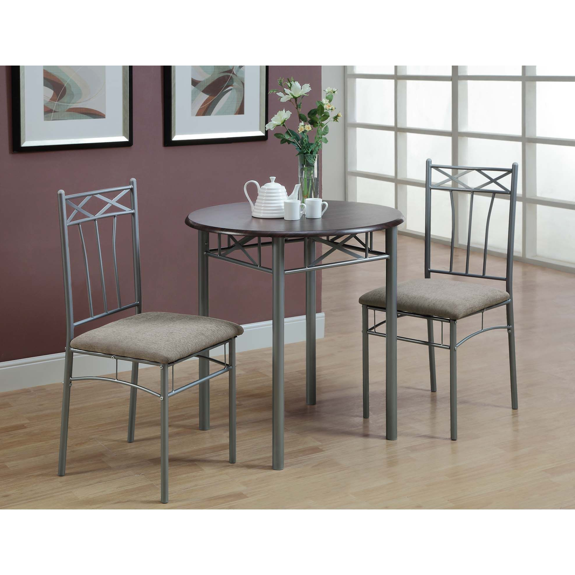 Cappuccino/ Silver Metal 3 Piece Bistro Table Set – Overstock In Most Current Bearden 3 Piece Dining Sets (View 22 of 25)