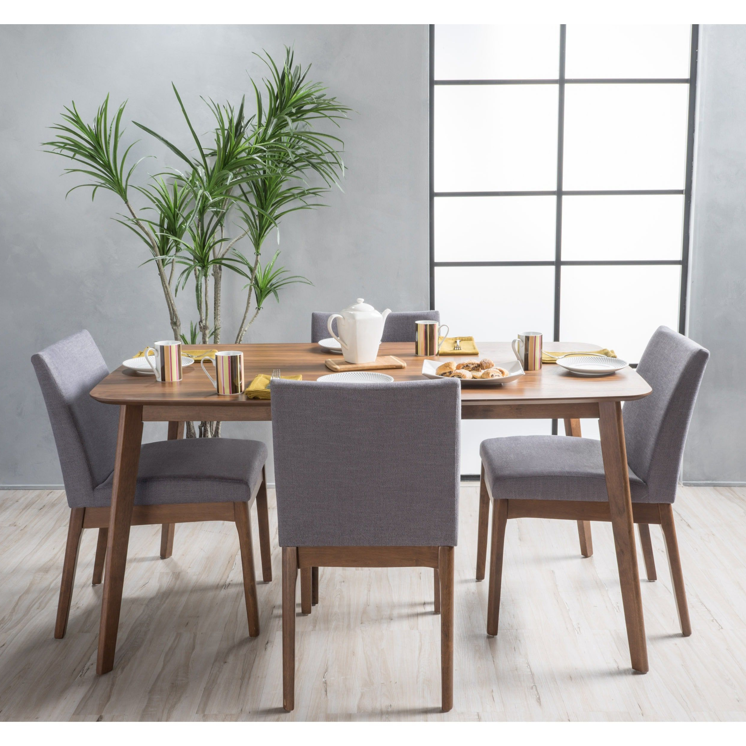 Carson Carrington Kotka Mid Century 5 Piece Dining Set (Walnut With Most Current Tavarez 5 Piece Dining Sets (View 8 of 25)
