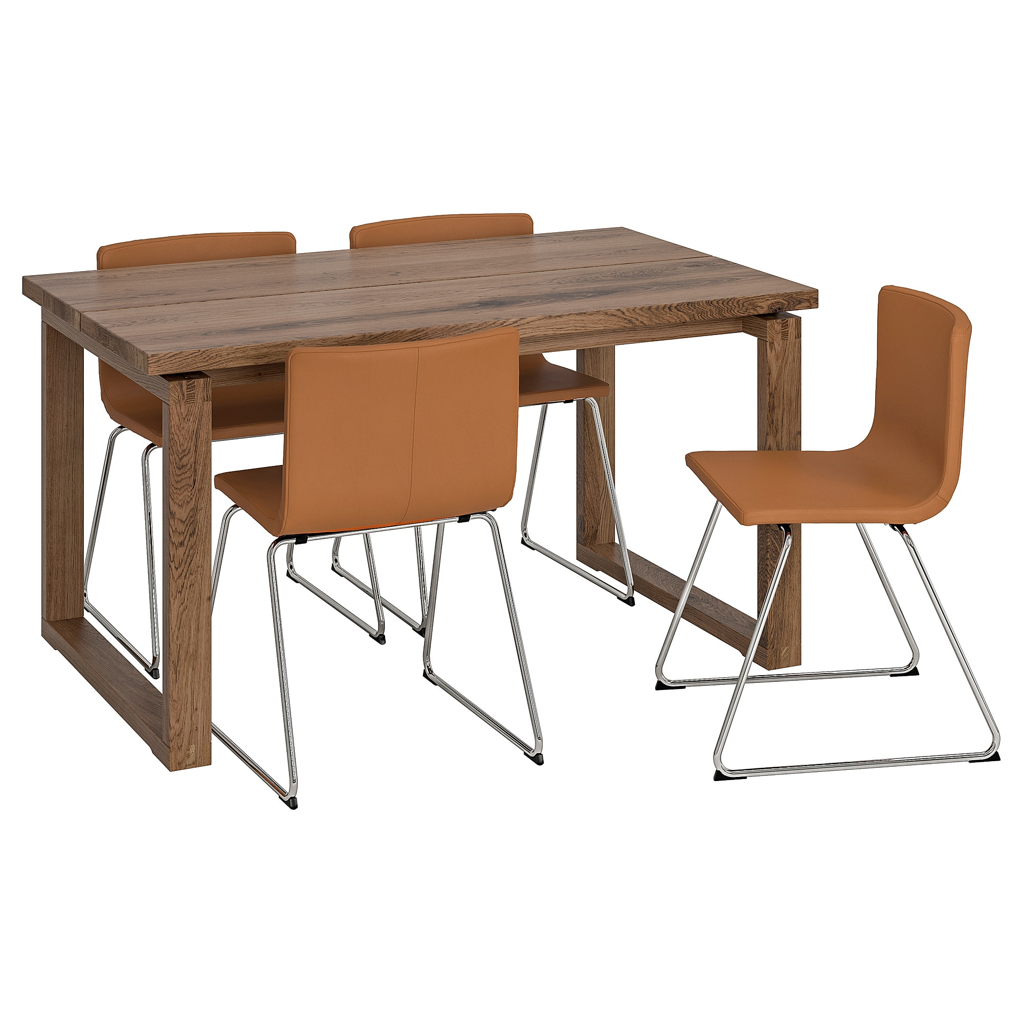 Castellanos Modern 5 Piece Counter Height Dining Sets Intended For Famous Mörbylånga / Bernhard Table And 4 Chairs – Oak Veneer, Brown – Ikea (View 18 of 25)