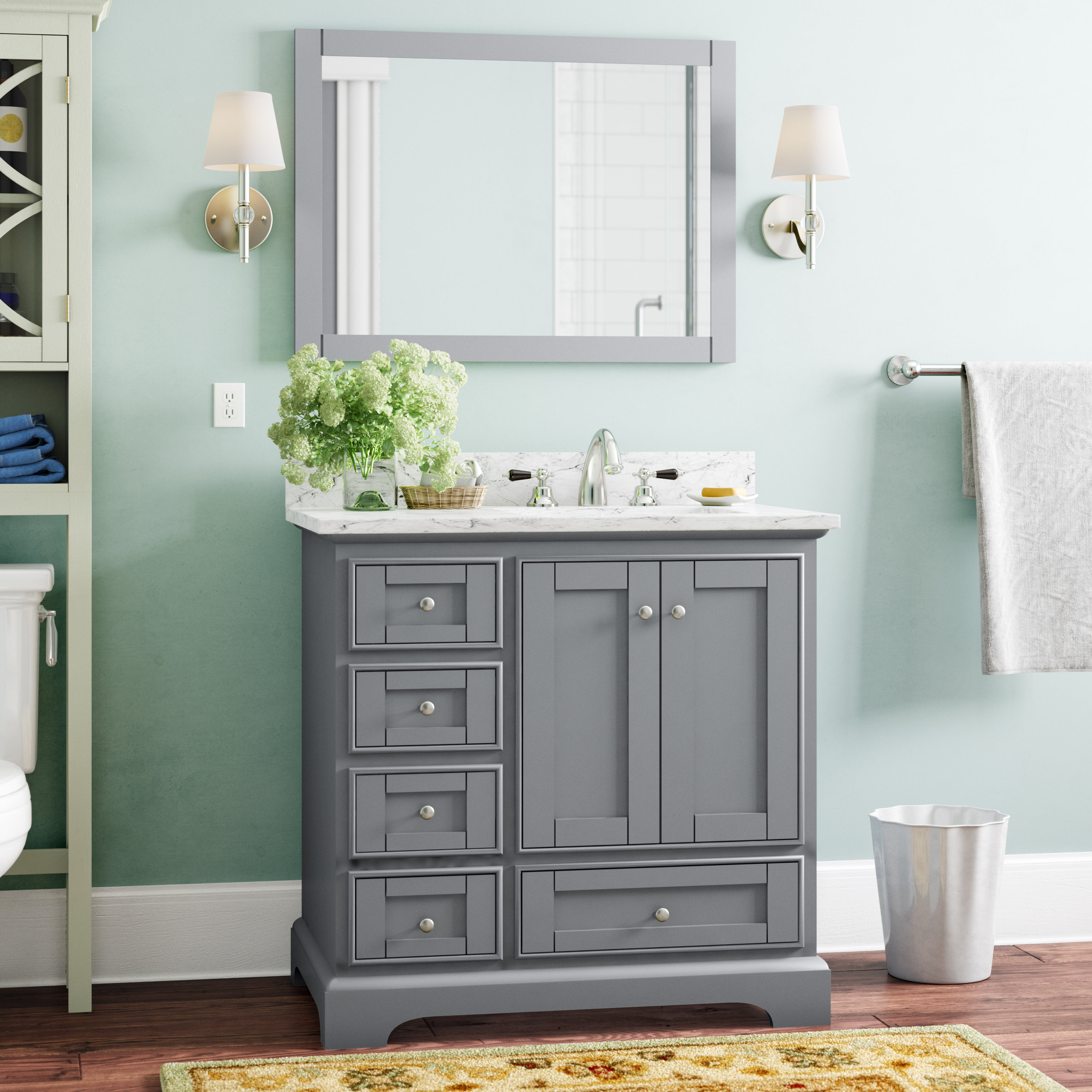 """Charlton Home Castellanos 36"""" Single Bathroom Vanity Set With Mirror In Preferred Castellanos Modern 5 Piece Counter Height Dining Sets (View 6 of 25)"""