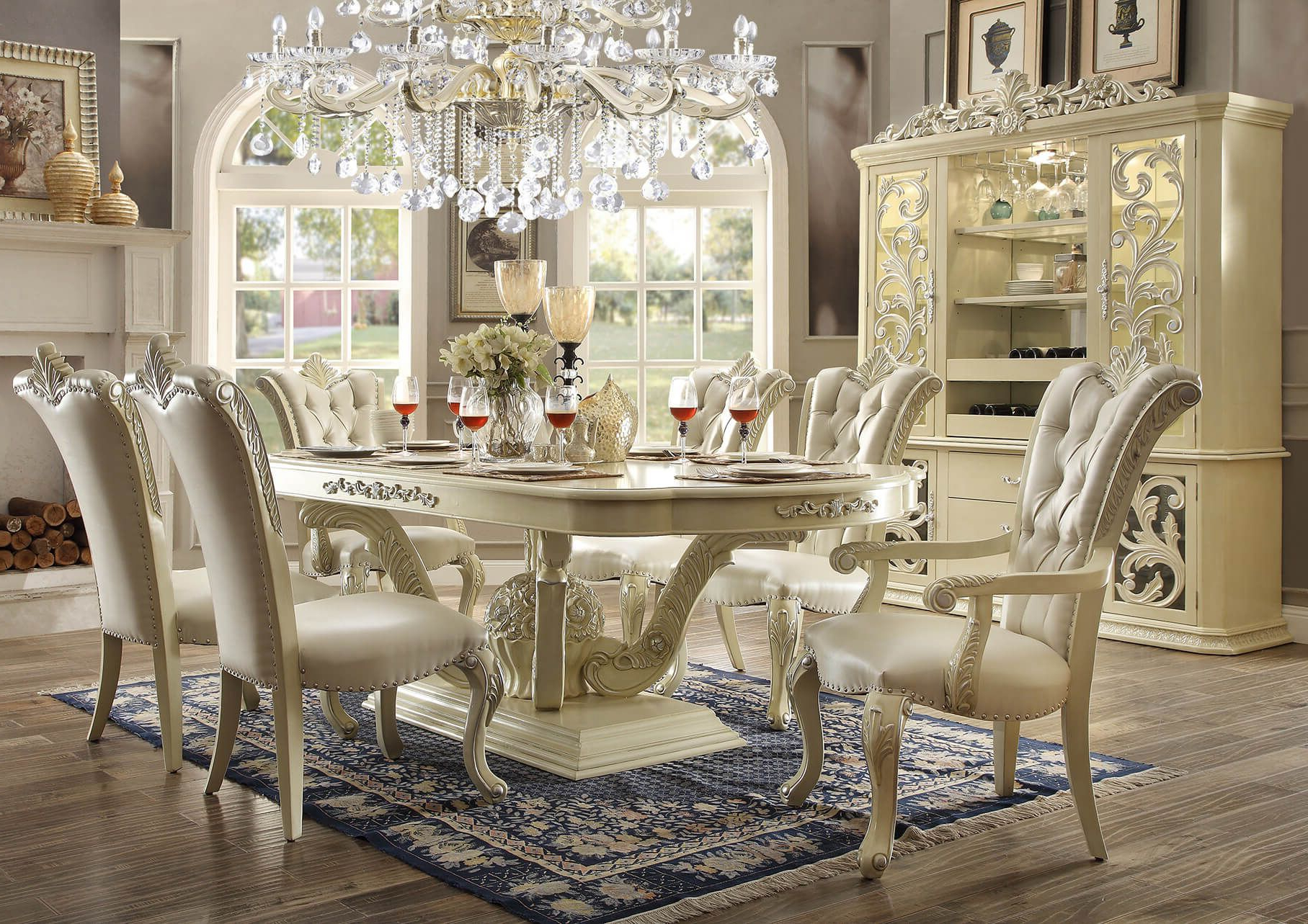 Chelmsford 3 Piece Dining Sets In Famous 9 Piece Homey Design Marbella Hd 27 Dining Set In  (View 2 of 25)