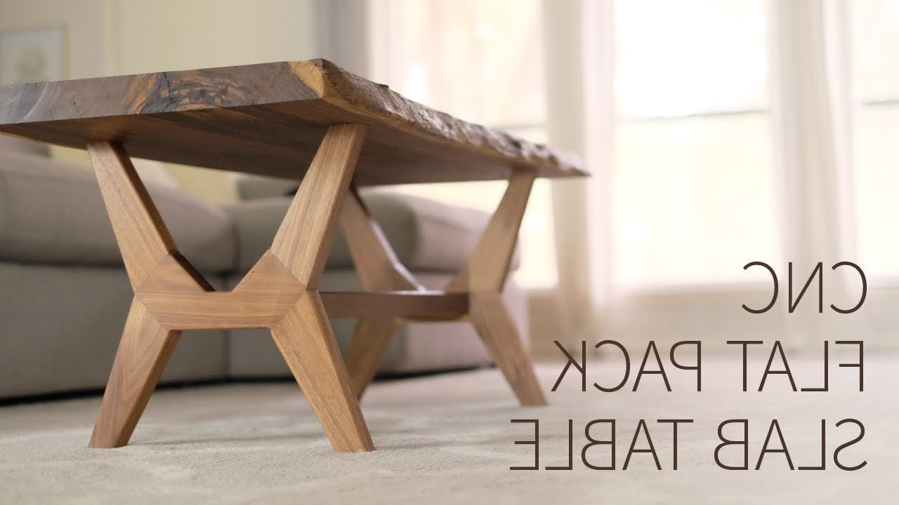 Cnc Flat Pack, Live Edge, Mid Century Modern Coffee Table For Popular Partin 3 Piece Dining Sets (View 4 of 25)