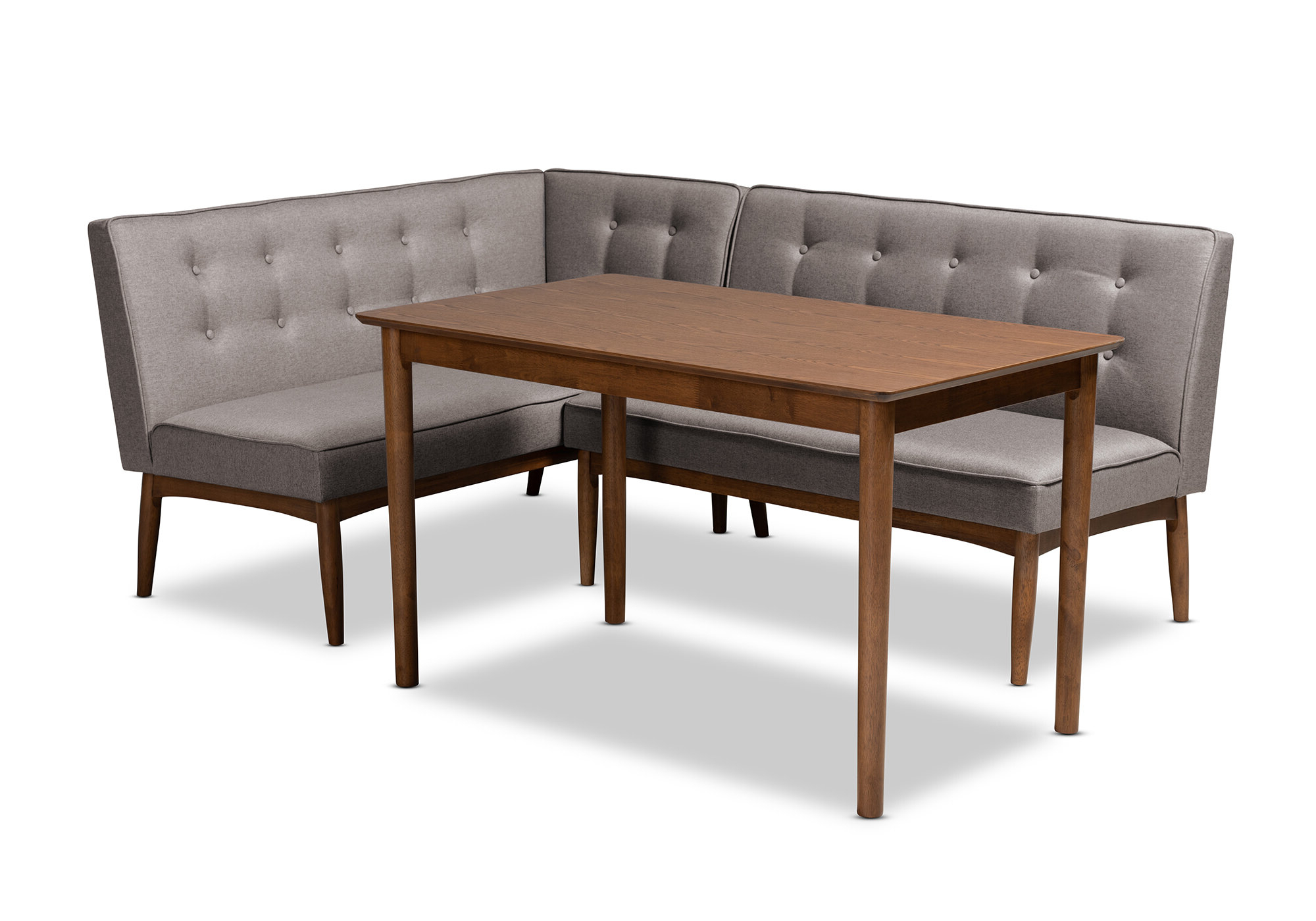 Corrigan Studio Bopp Mid Century Modern Upholstered 3 Piece With Popular Liles 5 Piece Breakfast Nook Dining Sets (View 4 of 25)
