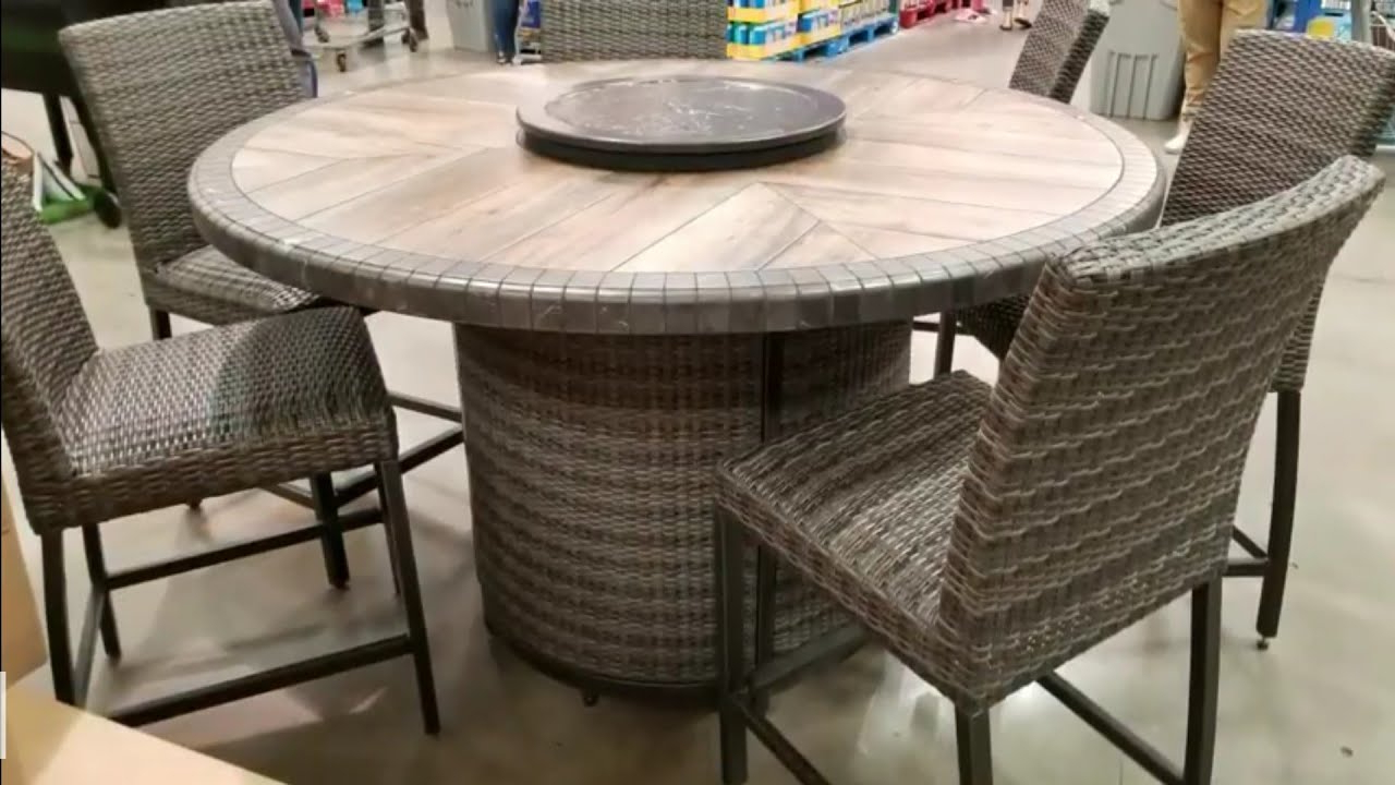 Costco! Agio 7 Pc High Dinning Set With Fire Table! $1299!!! – Youtube Throughout Well Known Northwoods 3 Piece Dining Sets (View 16 of 25)
