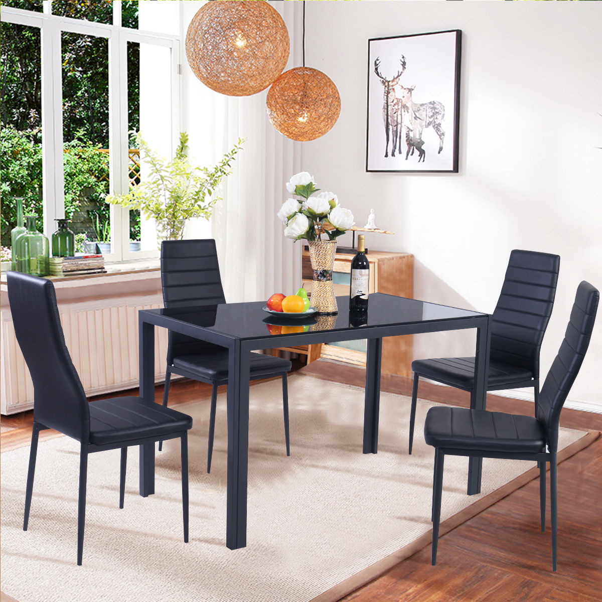 Costway 5 Piece Kitchen Dining Set Glass Metal Table And 4 Chairs Within Well Liked 5 Piece Dining Sets (View 11 of 25)