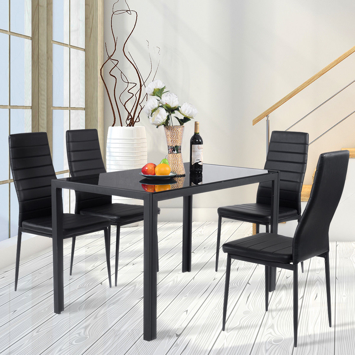 Costway: Costway 5 Piece Kitchen Dining Set Glass Metal Table And 4 Intended For Most Current Cargo 5 Piece Dining Sets (View 22 of 25)