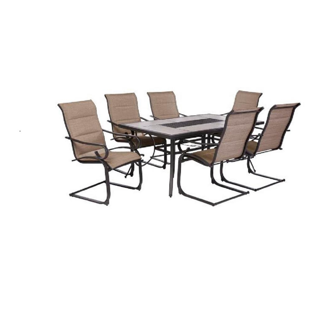 Crestridge 7 Piece Padded Sling Outdoor Dining Set In Within Northwoods 3 Piece Dining Sets (View 8 of 25)