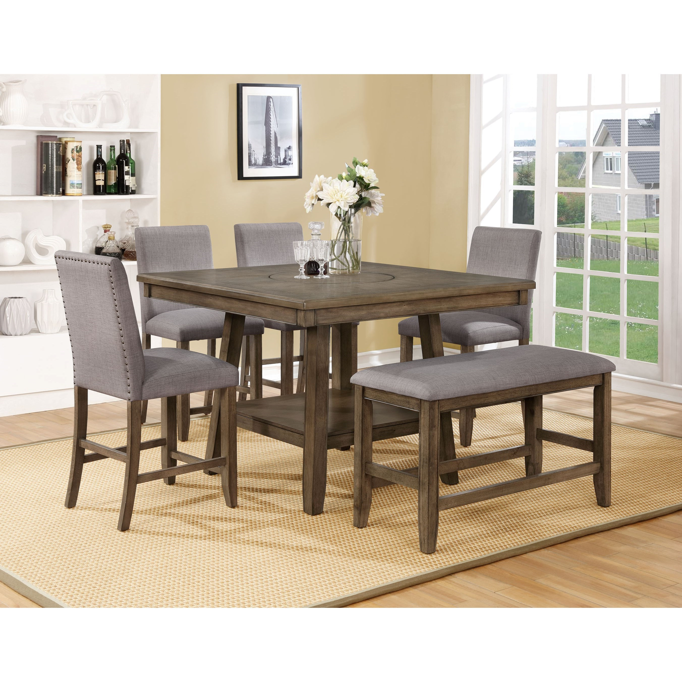 Crown Mark Manning Casual Counter Height Table Set (View 3 of 25)