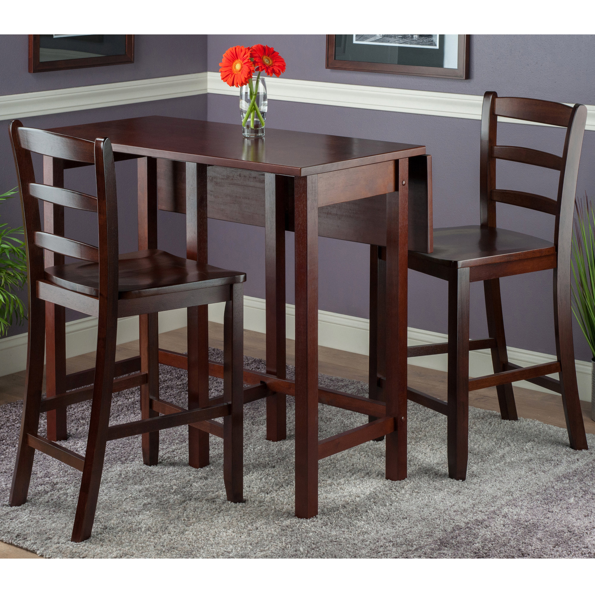 Crownover 3 Piece Bar Table Sets For Well Liked Red Barrel Studio Bettencourt 3 Piece Drop Leaf Dining Set & Reviews (View 7 of 25)