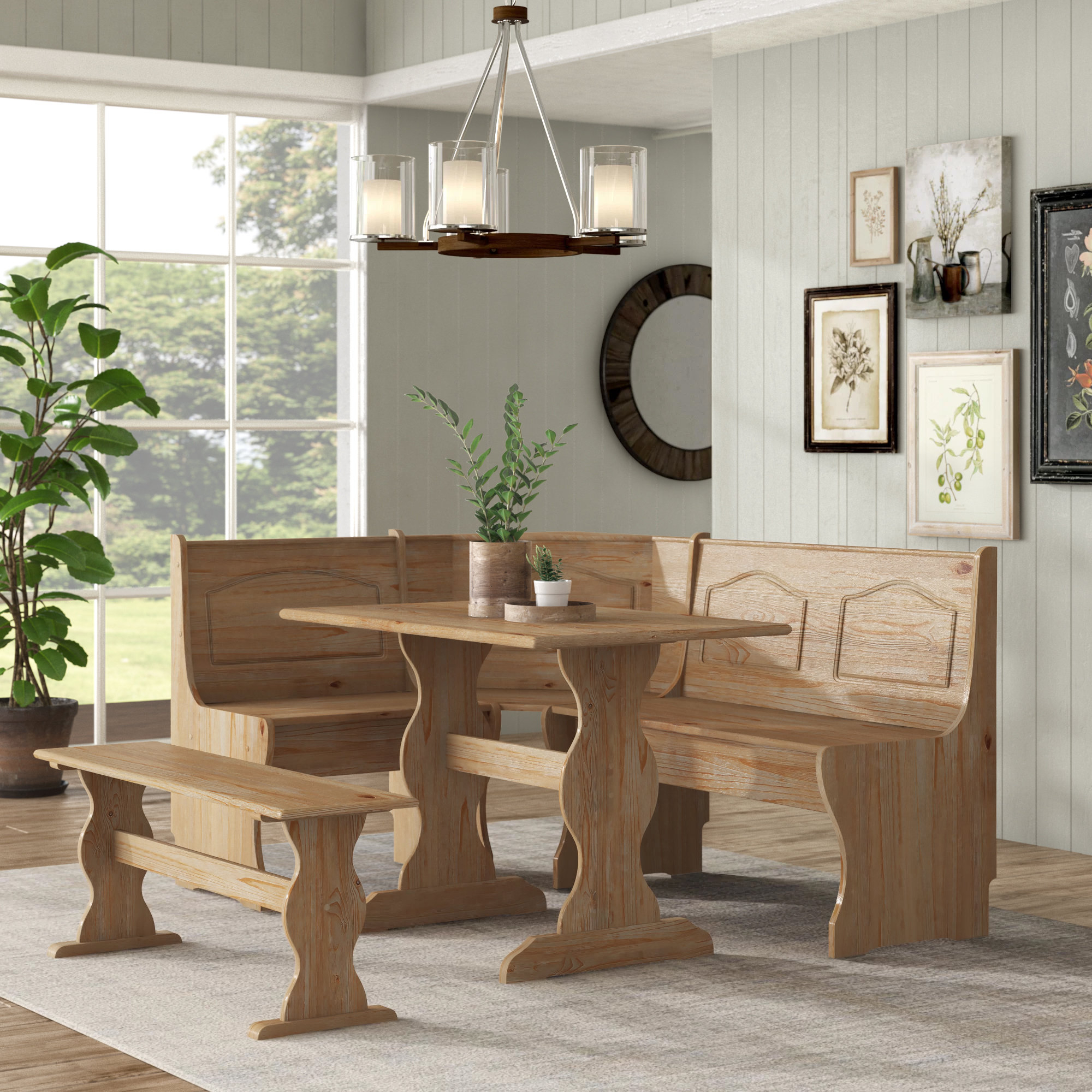 Current 3 Piece Breakfast Nook Dinning Set Intended For August Grove Padstow 3 Piece Breakfast Nook Dining Set & Reviews (View 21 of 25)