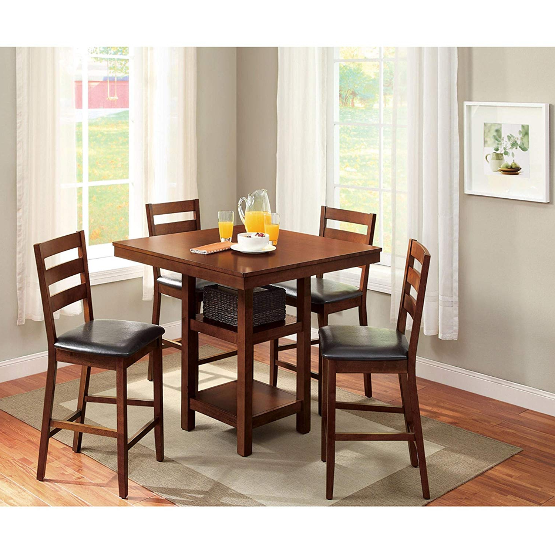Current Amazon – 5 Piece Dalton Park Counter Height Dining Set, Mocha Pertaining To Denzel 5 Piece Counter Height Breakfast Nook Dining Sets (View 16 of 25)