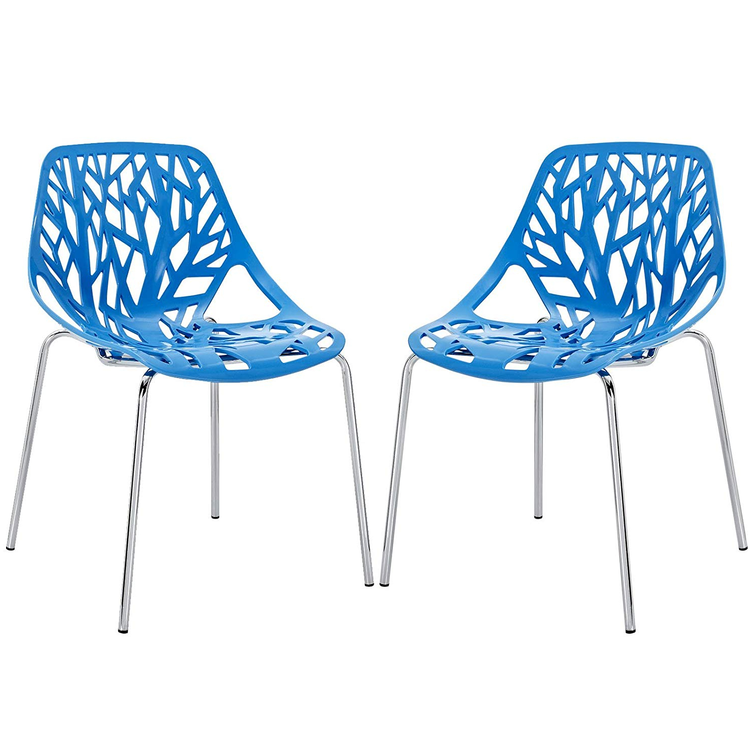 Current Amazon – Modway Stencil Dining Side Chair Set Of 2 In Blue – Chairs With Regard To Kaelin 5 Piece Dining Sets (View 5 of 25)