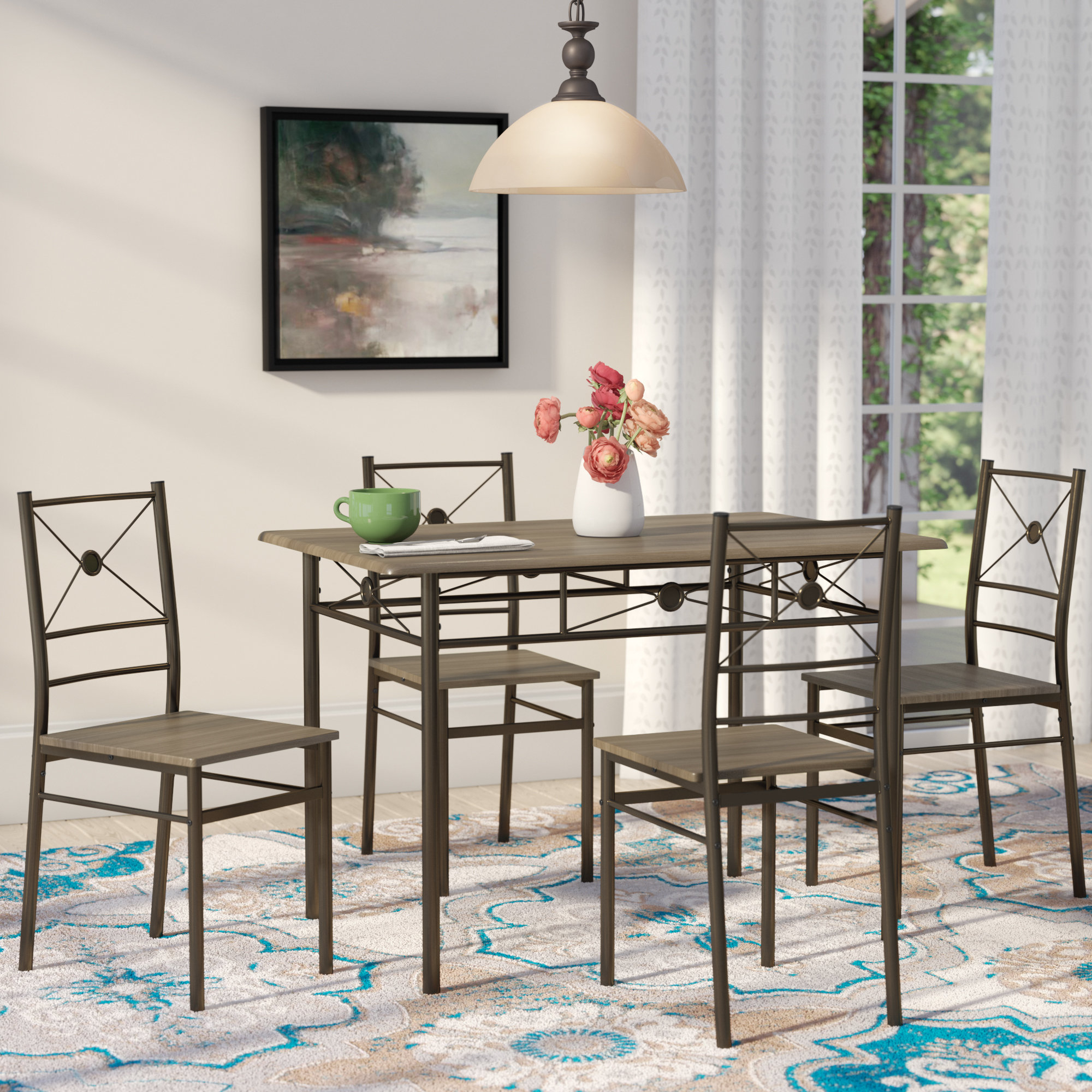 Current Andover Mills Kieffer 5 Piece Dining Set & Reviews (View 3 of 25)