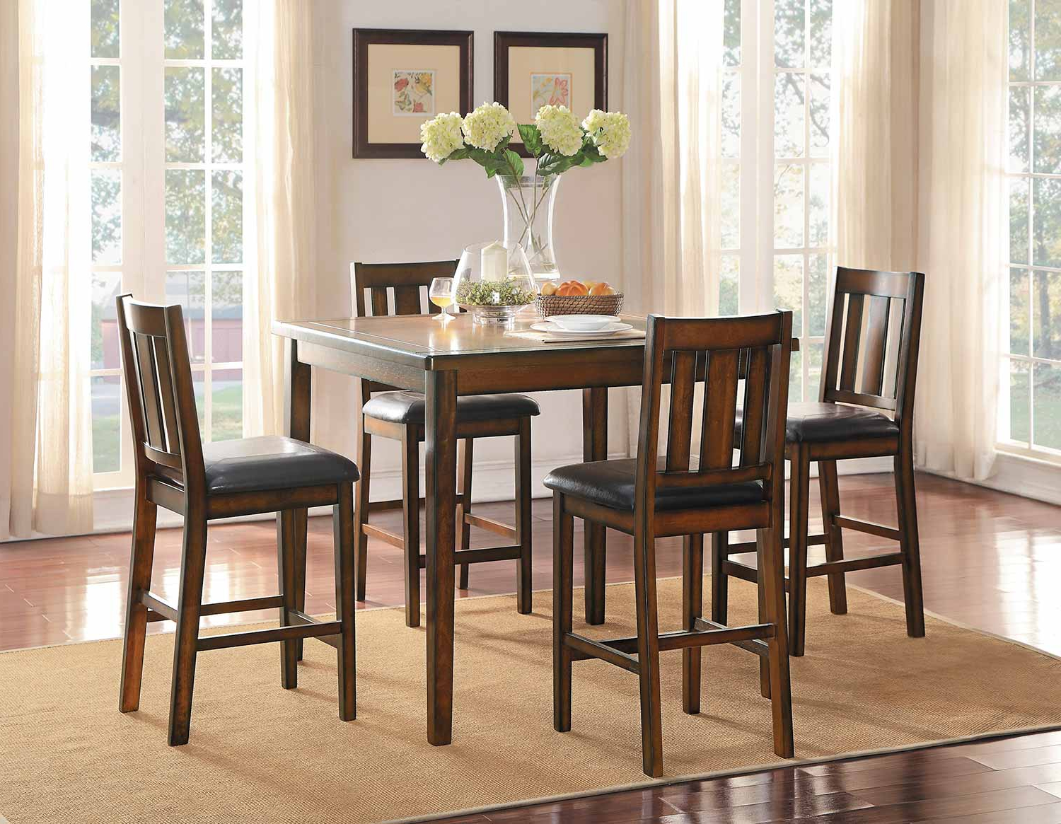 Current Delmar 5 Piece Dining Sets Regarding Homelegance Delmar 5 Piece Pack Counter Height Dining Set – Burnish (View 2 of 25)