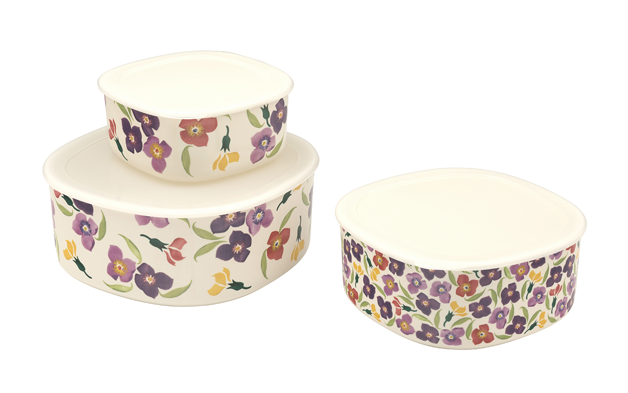 Current Emma Bridgewater Wallflower Set Of 3 Melamine Storage Containers Throughout Wallflower 3 Piece Dining Sets (View 4 of 25)