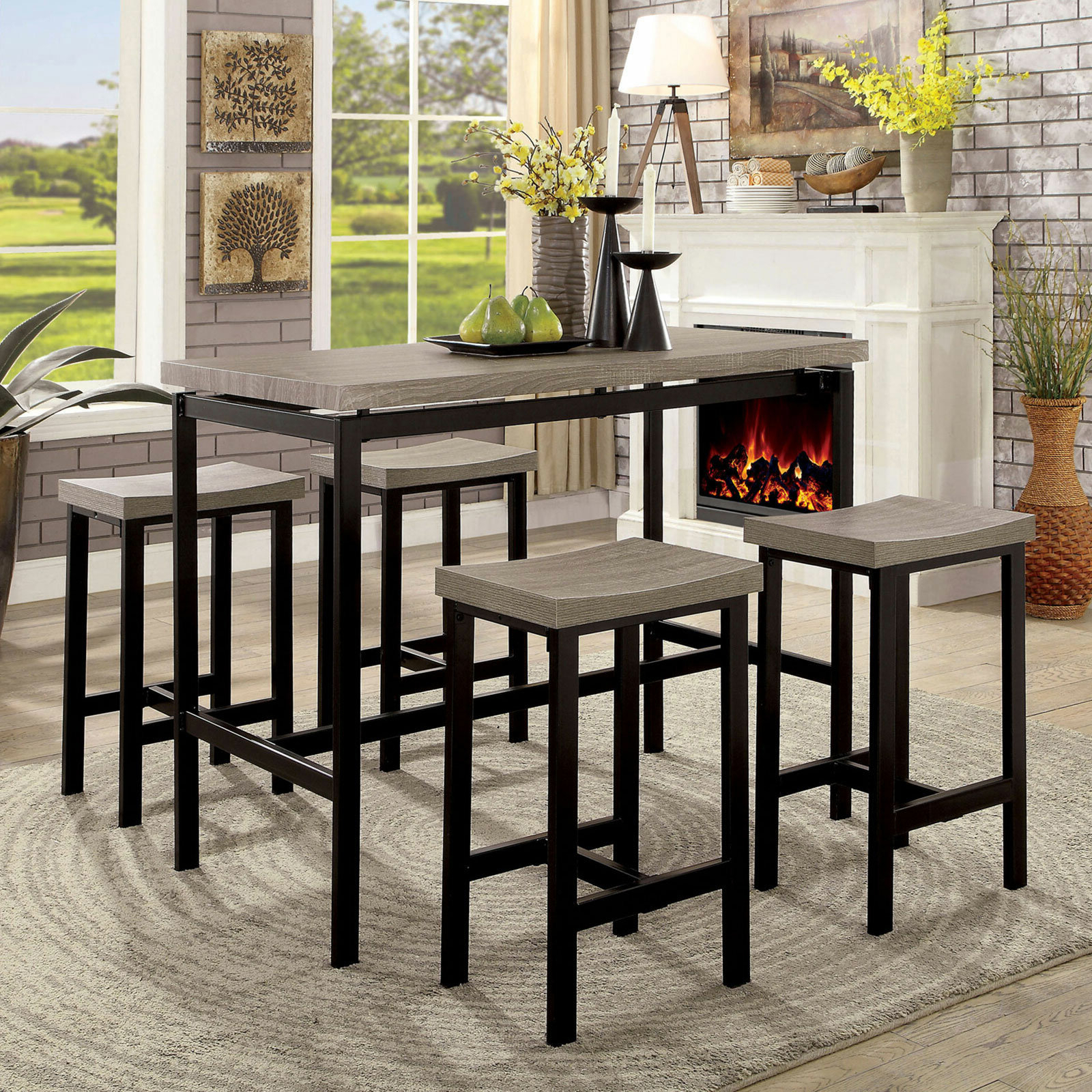 Current Kernville 3 Piece Counter Height Dining Sets Intended For Latitude Run Marble 5 Piece Dining Set (View 13 of 25)