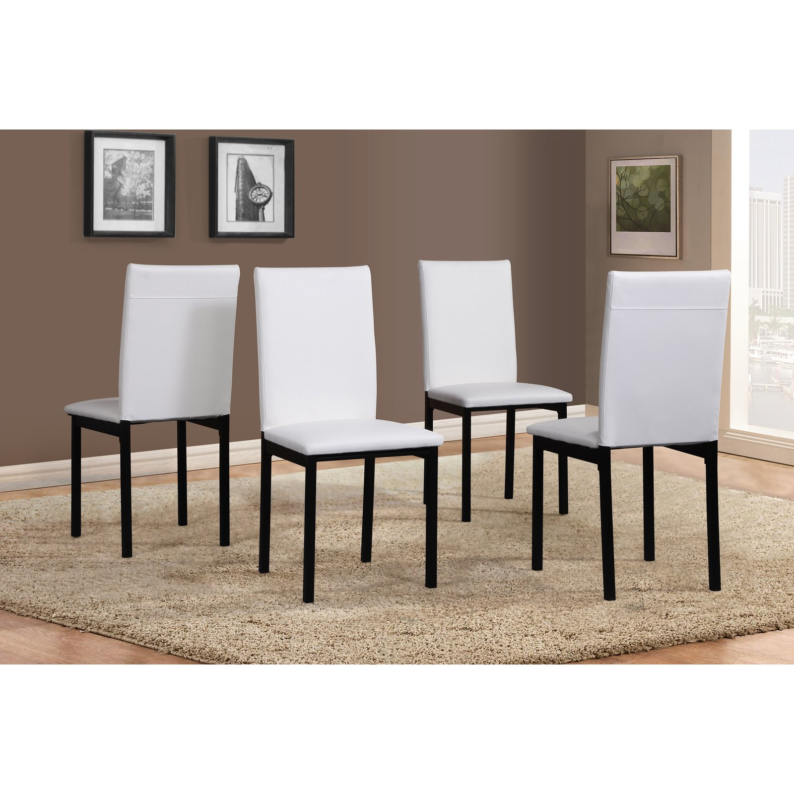 Current Noyes 5 Piece Dining Sets Pertaining To Roundhill Noyes Faux Leather Seat Metal Frame White Dining Chairs (View 7 of 25)