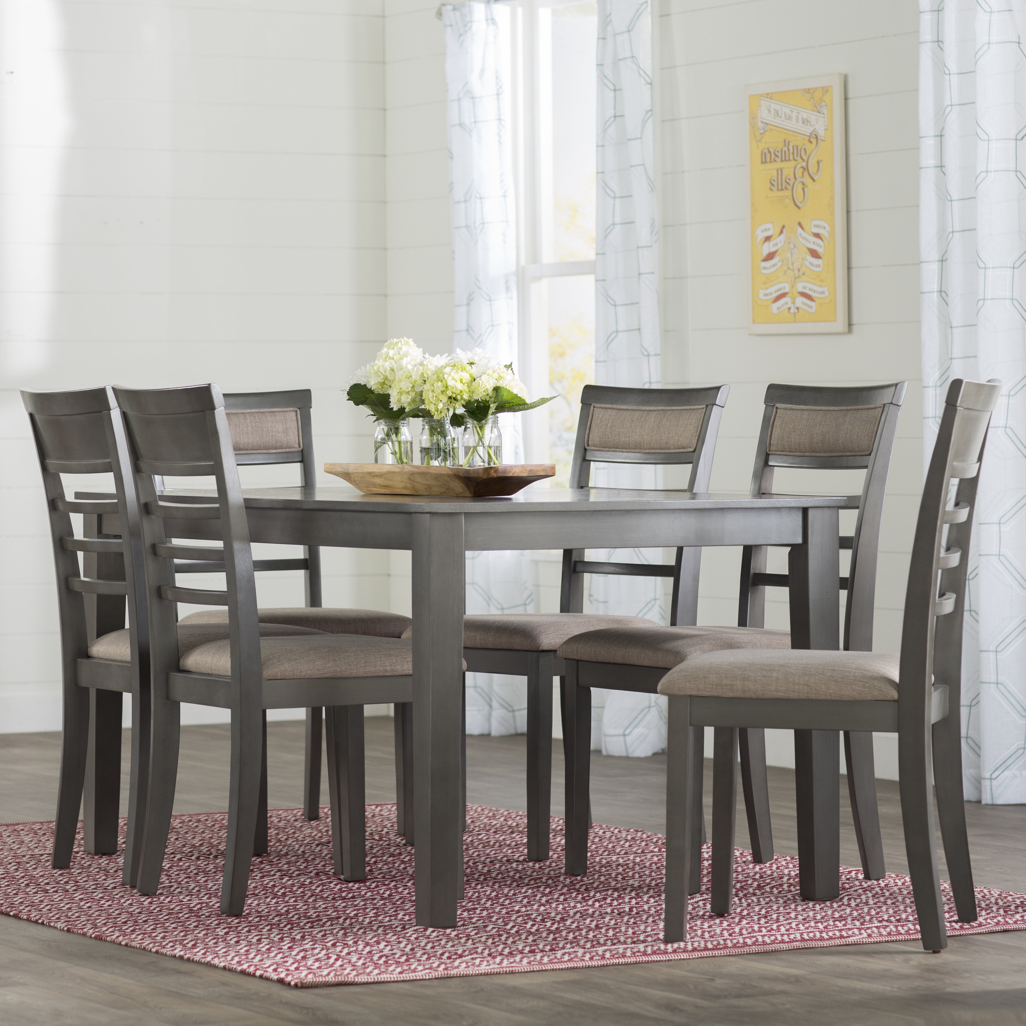 Current West Hill Family Table 3 Piece Dining Sets Inside Gracie Oaks Edouard 7 Piece Dining Set & Reviews (View 5 of 25)