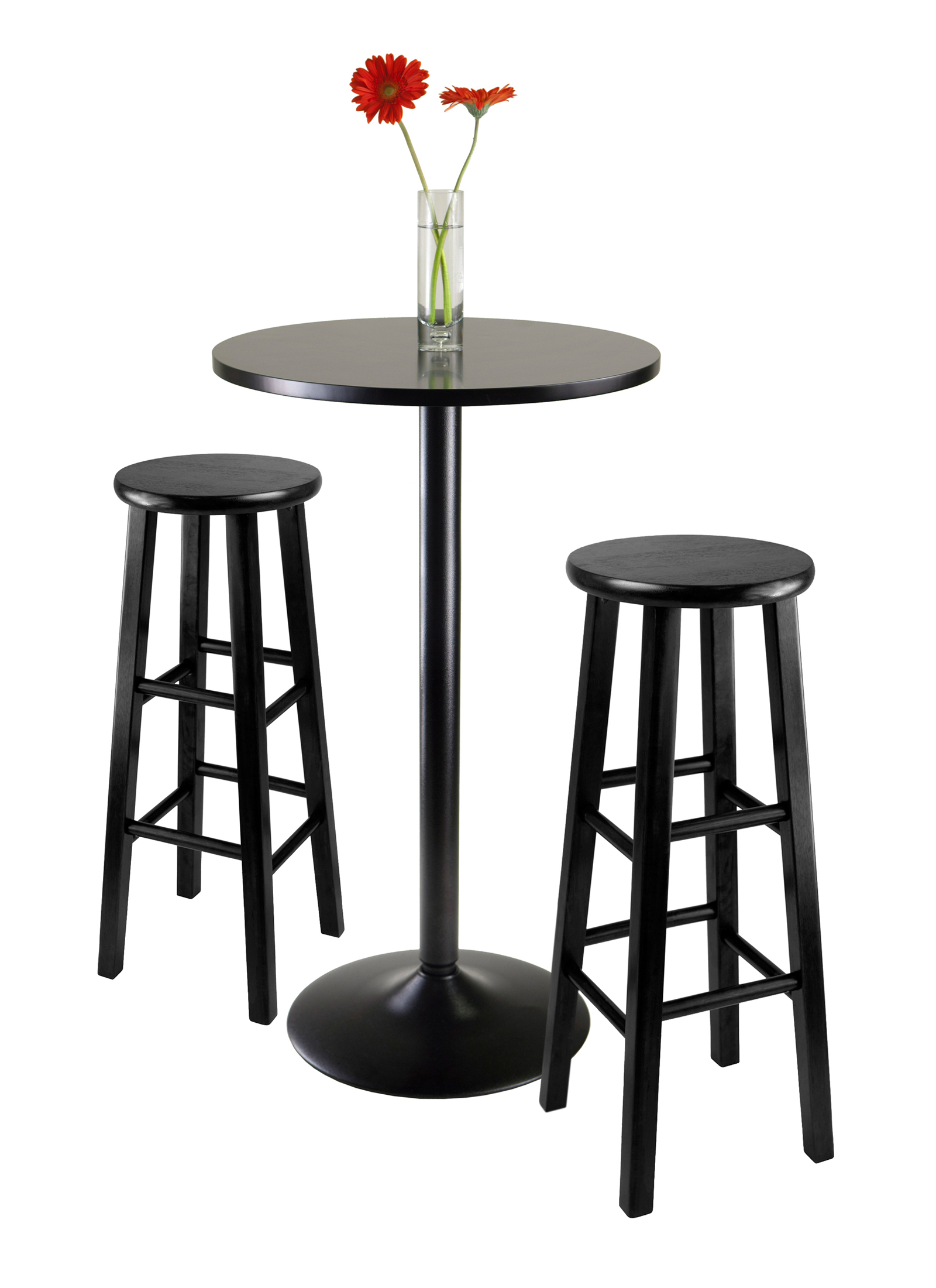 Current Winsome Wood Obsidian 3 Piece Round Black Pub Table Set – $ (View 5 of 25)