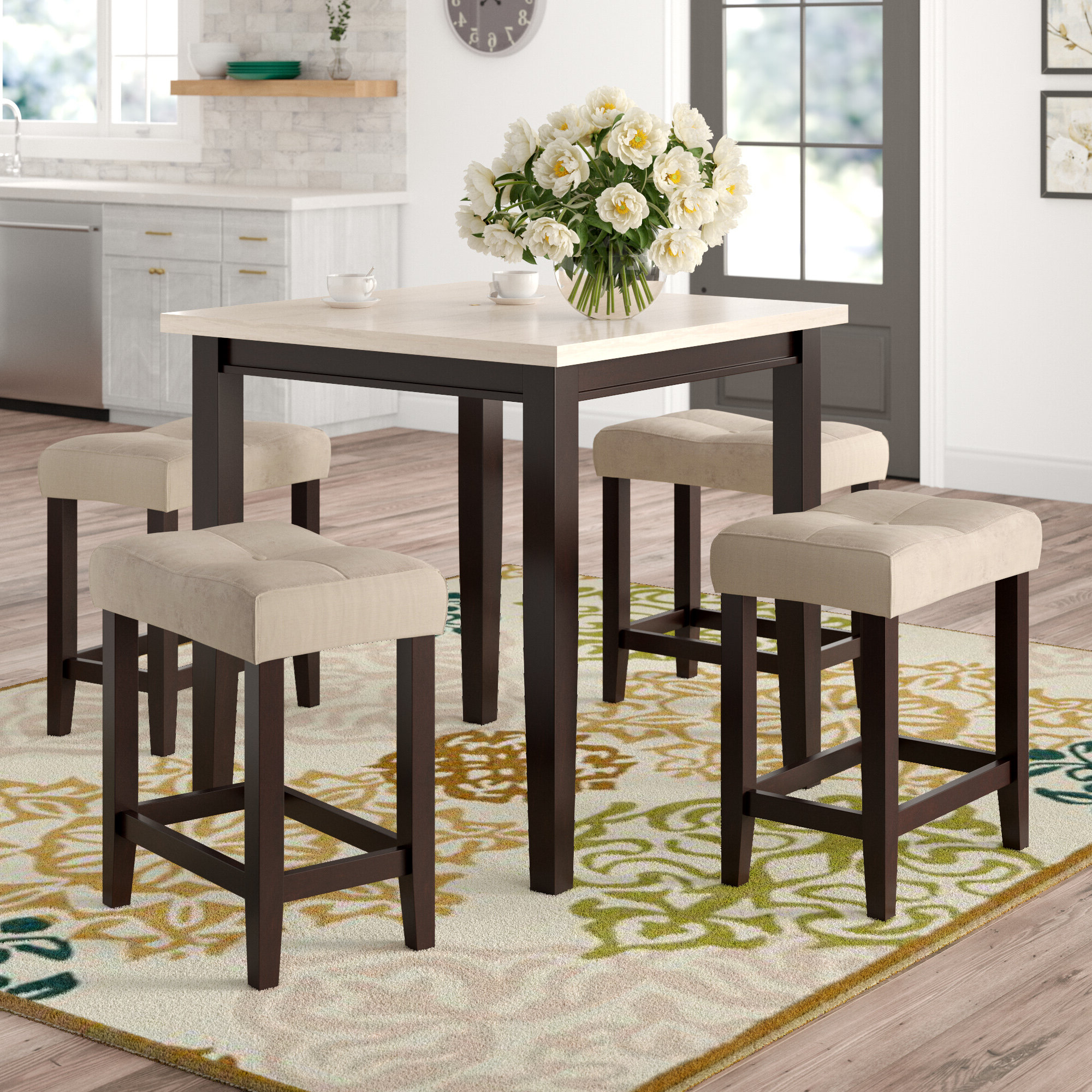 Current Winsted 4 Piece Counter Height Dining Sets With Regard To Red Barrel Studio Skeens 5 Piece Counter Height Dining Set & Reviews (View 3 of 25)