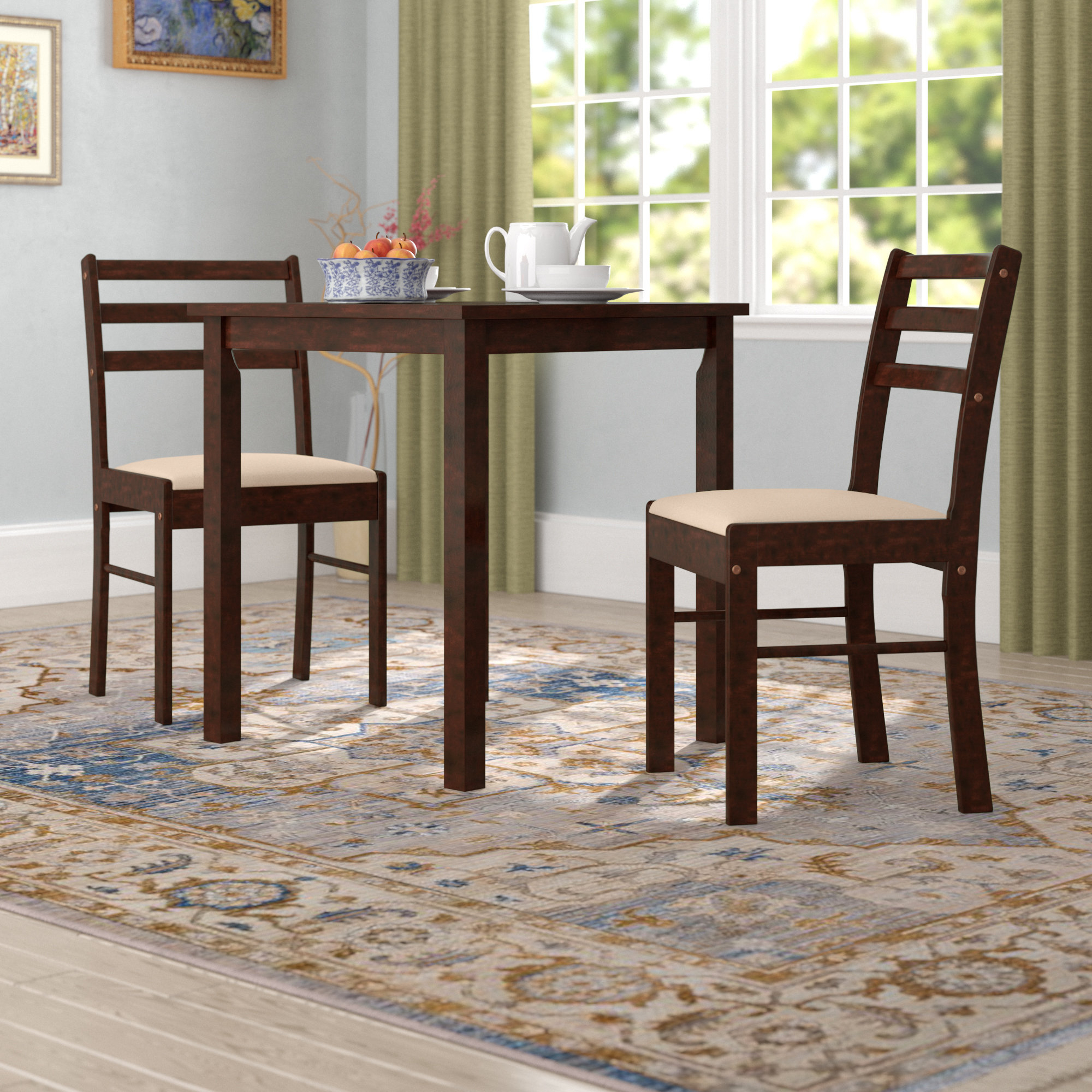 Current Winston Porter Clinger Pilaster Designs 3 Piece Dining Set & Reviews Within Kinsler 3 Piece Bistro Sets (View 9 of 25)