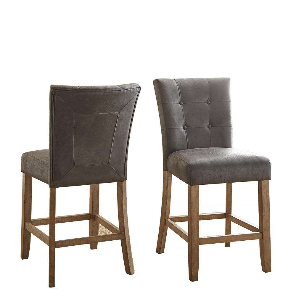 Debby Counter Chair Grey (Set Of 2) for Most Recent Debby Small Space 3 Piece Dining Sets