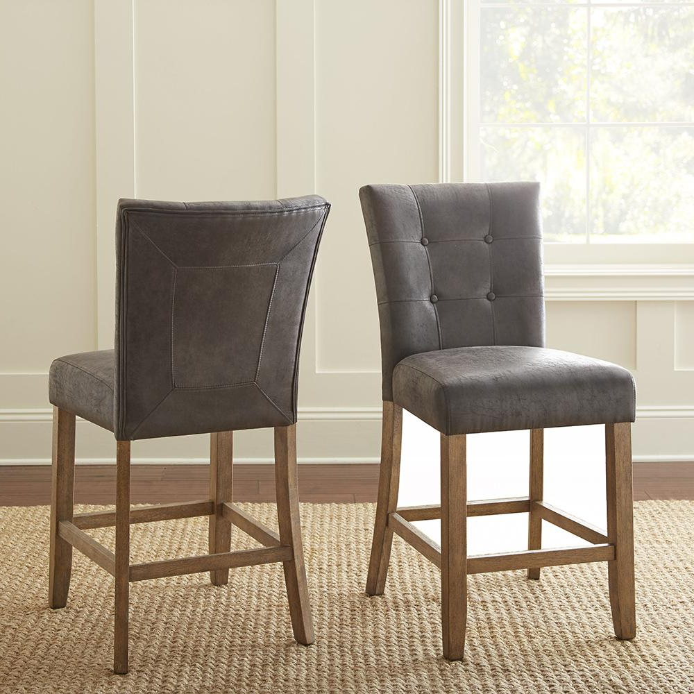 Debby Counter Chair Grey (Set Of 2) for Recent Debby Small Space 3 Piece Dining Sets