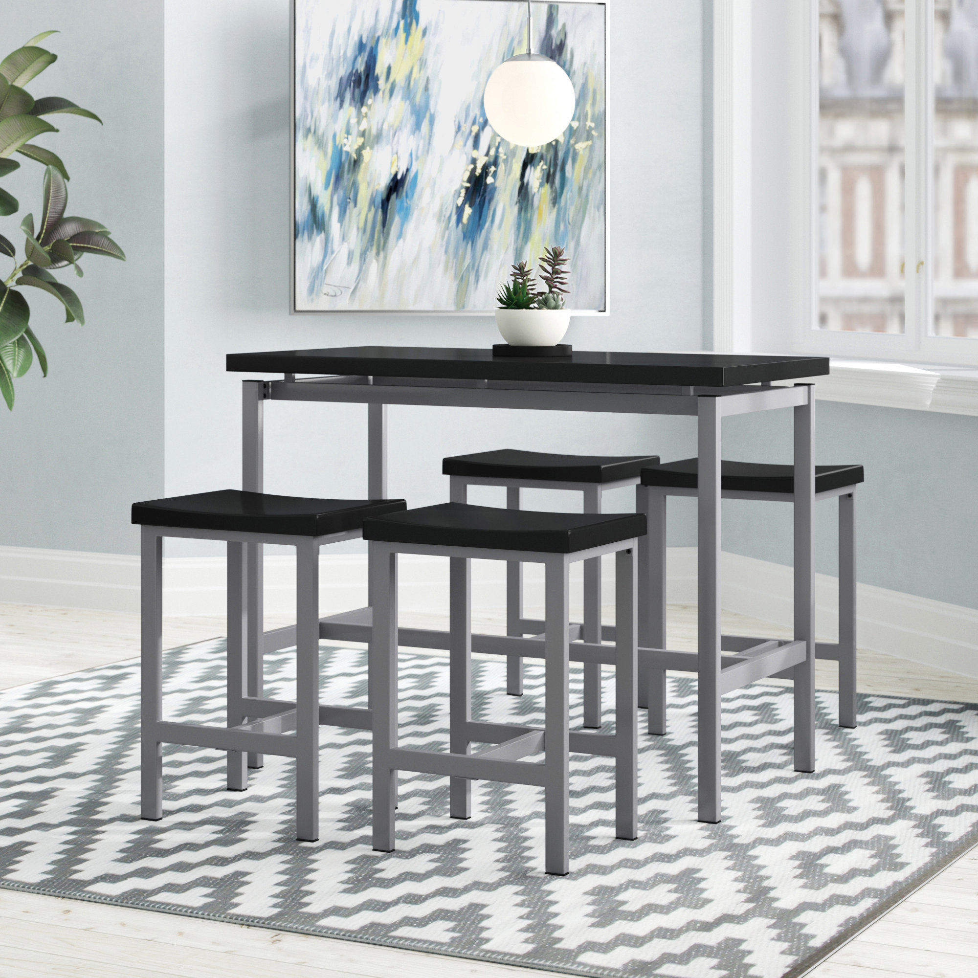 Denzel 5 Piece Counter Height Breakfast Nook Dining Sets with Most Recently Released Ebern Designs Mysliwiec 5 Piece Counter Height Breakfast Nook Dining