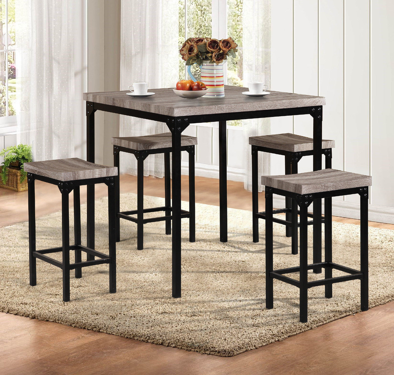 Denzel 5 Piece Counter Height Breakfast Nook Dining Sets within Best and Newest Latitude Run Breen 5 Piece Pub Table Set