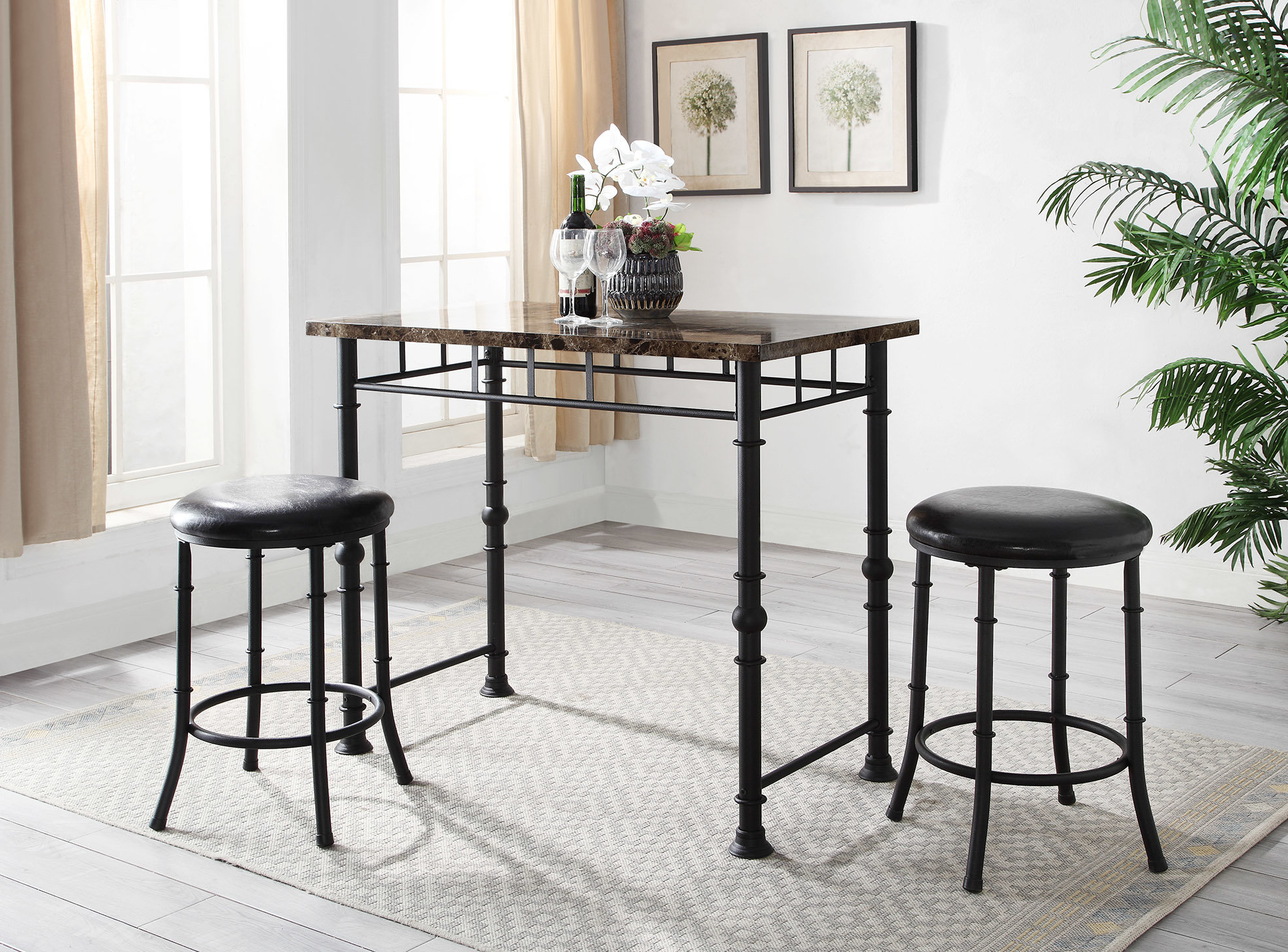 Details About Williston Forge Giles Dining Set inside Well-liked Debby Small Space 3 Piece Dining Sets