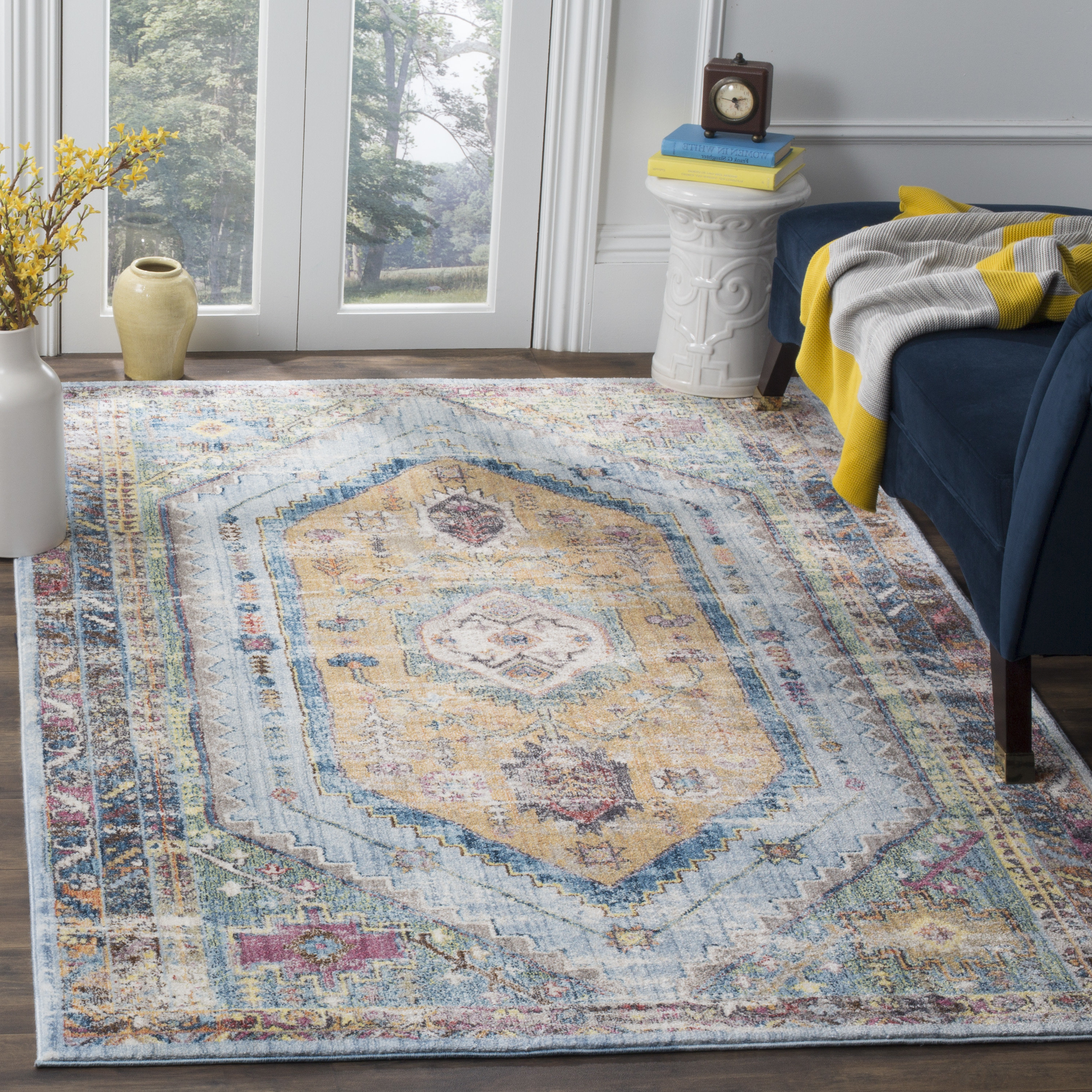 Devon Polyester Blue/camel Area Rug & Reviews (View 5 of 25)