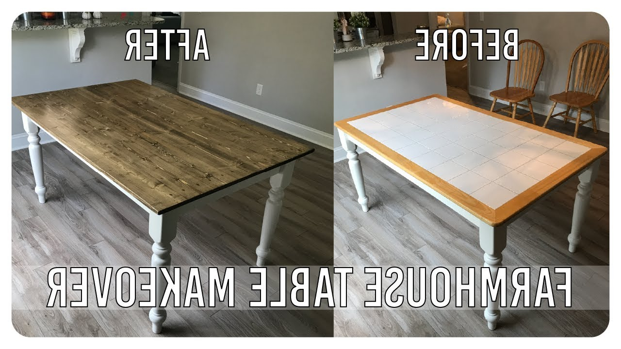 Diy Dining Room Table Makeover - Farmhouse Table Edition - Youtube regarding Most Current Falmer 3 Piece Solid Wood Dining Sets