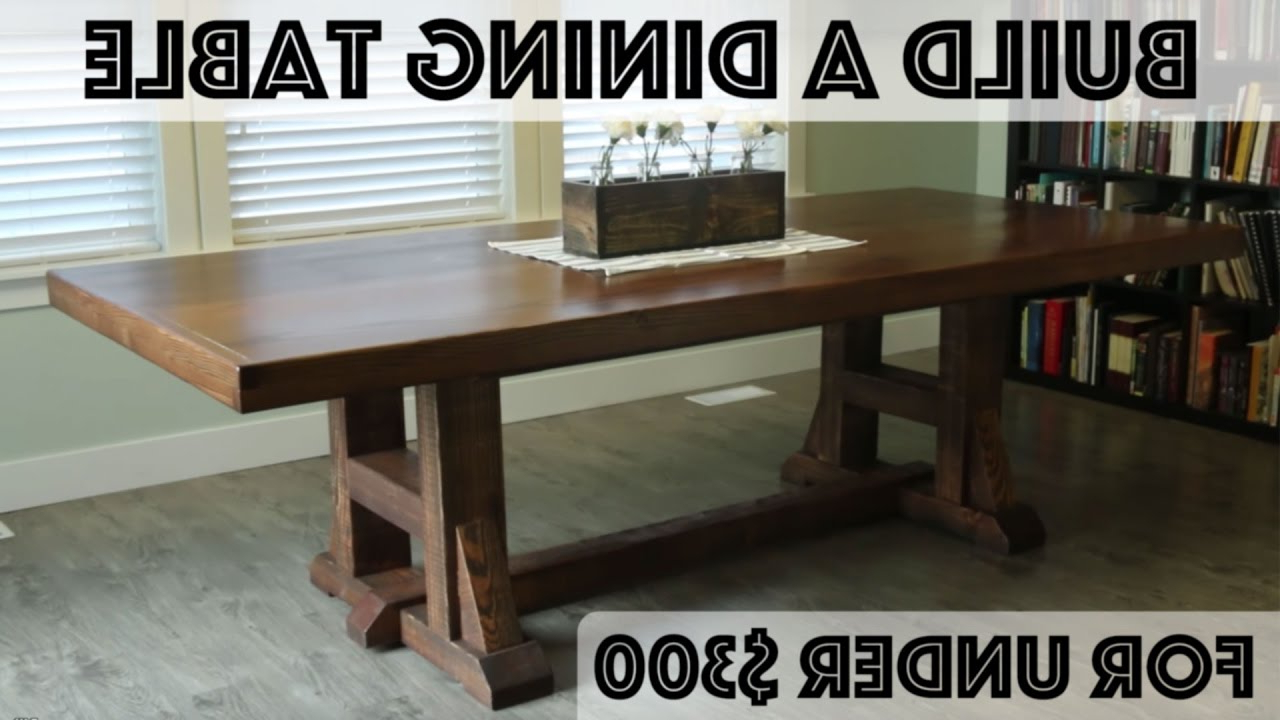 Diy Dining Table: Pottery Barn Inspired Farmhouse Table - Youtube for Favorite Evellen 5 Piece Solid Wood Dining Sets (Set Of 5)