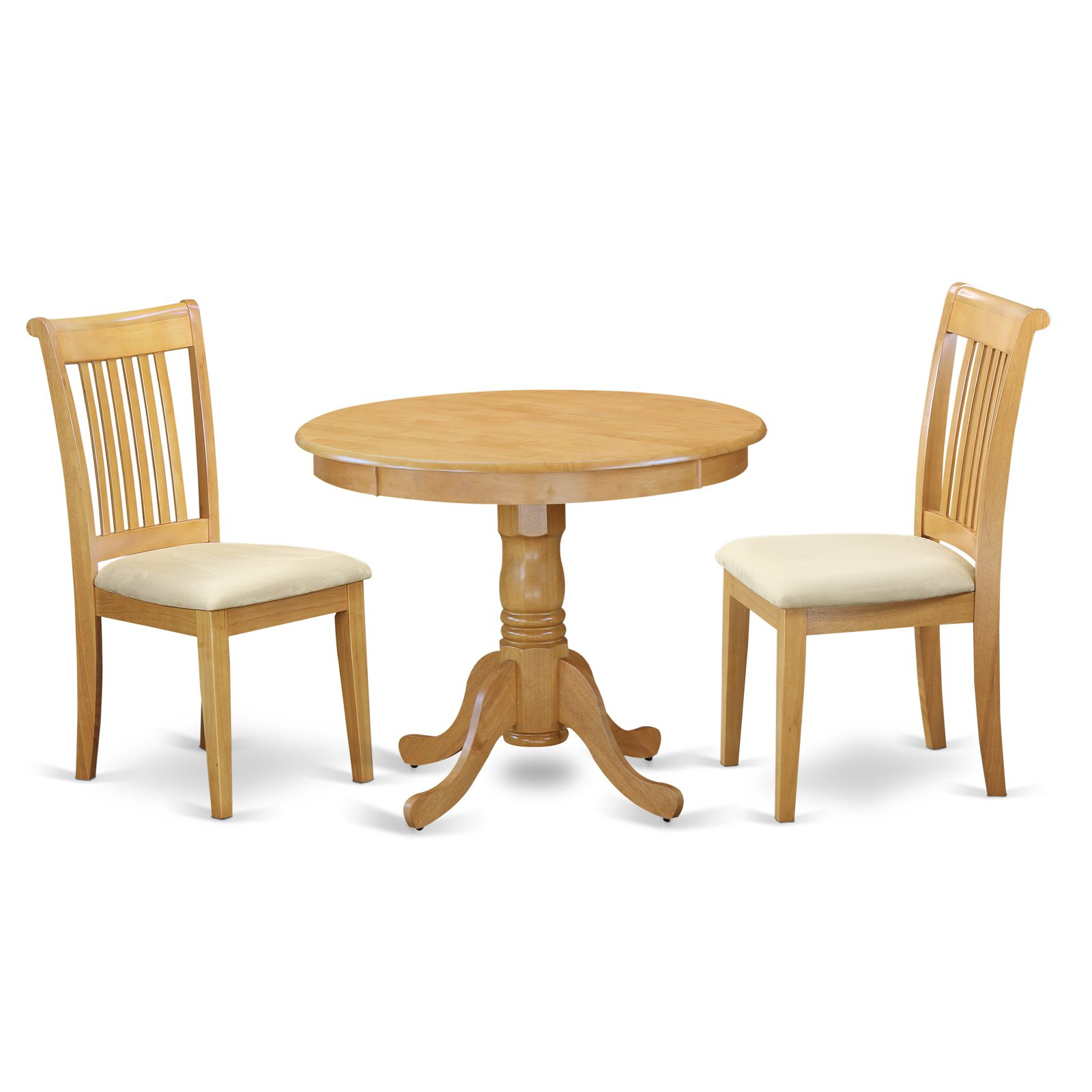 East West Furniture Antique Anpo3 Three Piece Round Pedestal Dining with regard to Current Travon 5 Piece Dining Sets