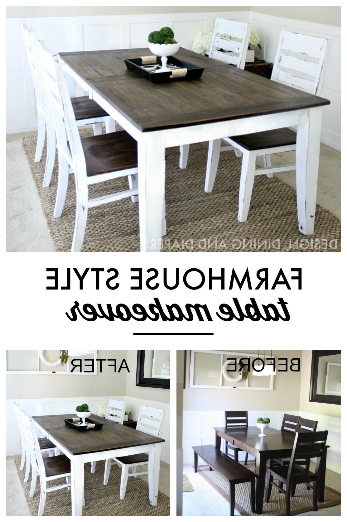 Falmer 3 Piece Solid Wood Dining Sets Inside Latest Farmhouse Table Makeover (View 12 of 25)