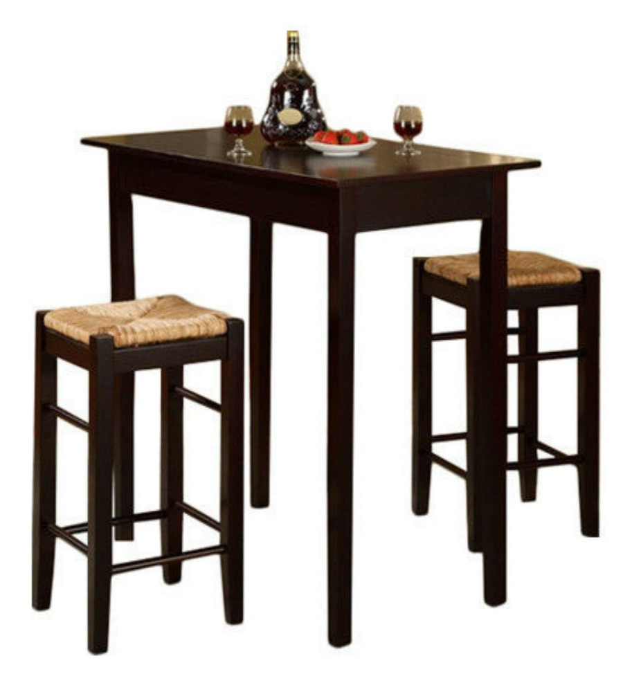 Famous Amazon – 3 Piece Dinette Set Kitchen Pub Dining Table And Chairs With Regard To Penelope 3 Piece Counter Height Wood Dining Sets (View 2 of 25)