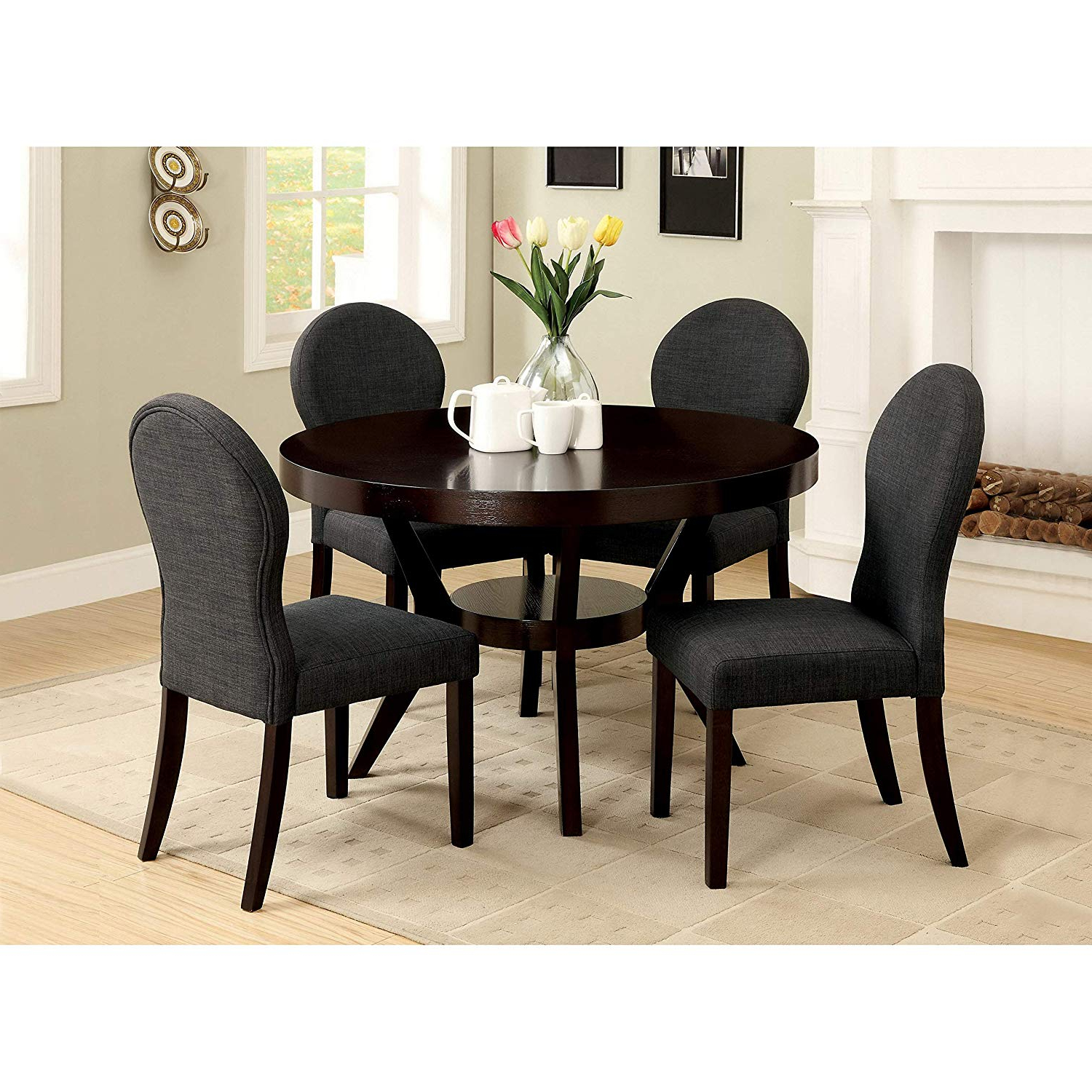 Famous Amazon – Furniture Of America Magnolia 5 Piece Espresso Finish Inside Maynard 5 Piece Dining Sets (View 17 of 25)