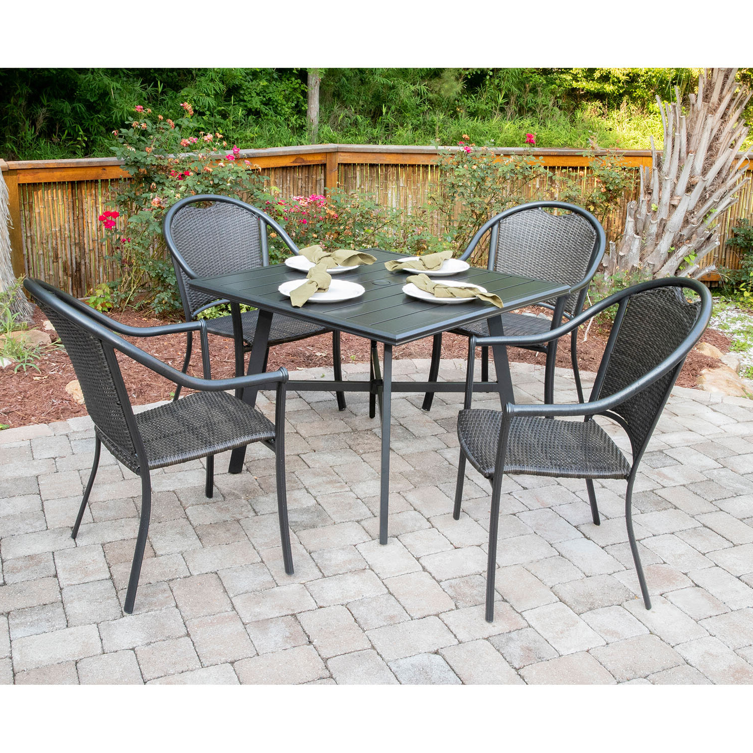Famous Bearden 3 Piece Dining Sets Within Charlton Home Bearden 5 Piece Commercial Grade All Weather Patio Set (View 9 of 25)