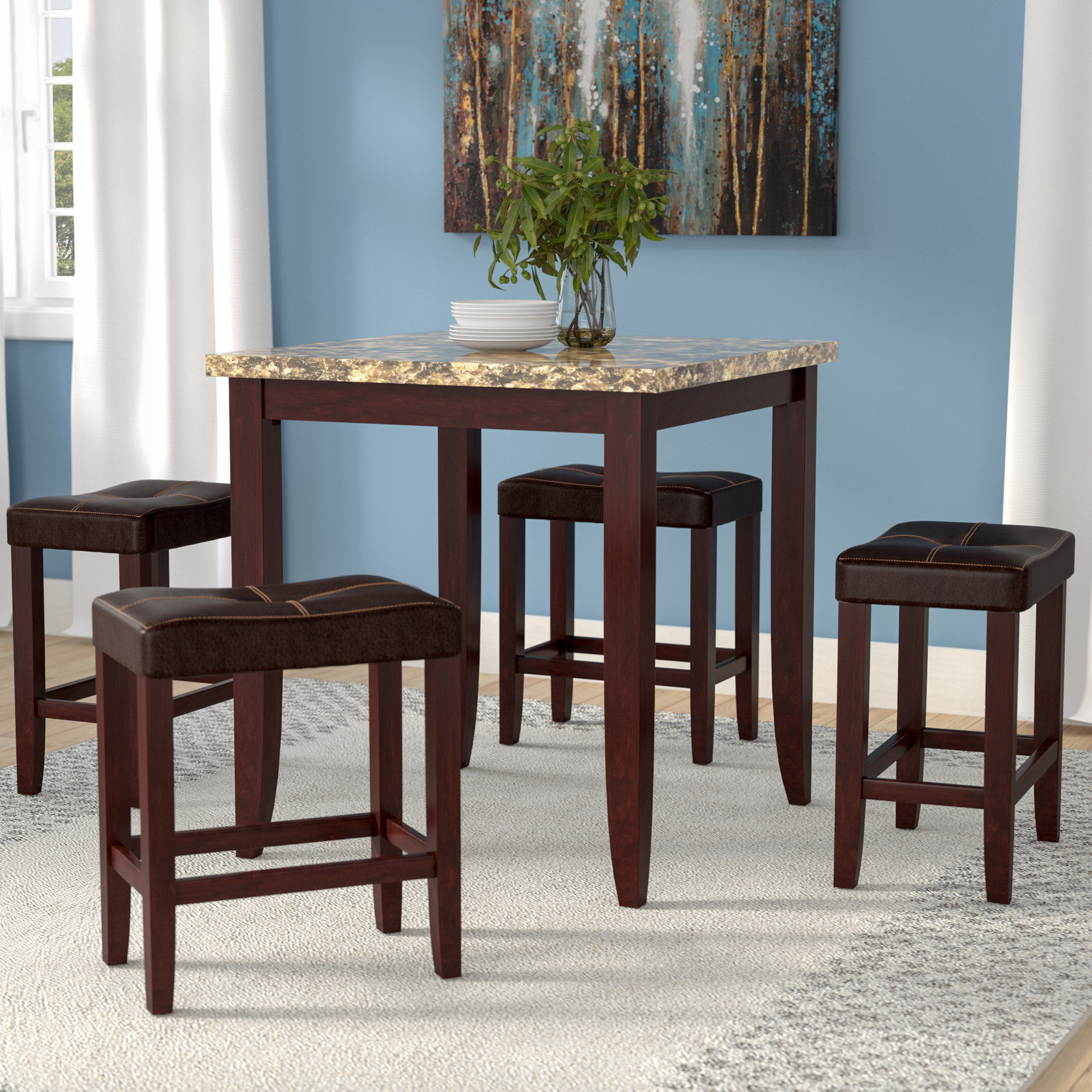 Famous Latitude Run Dejean 5 Piece Counter Height Dining Set & Reviews With Regard To Askern 3 Piece Counter Height Dining Sets (Set Of 3) (View 9 of 25)