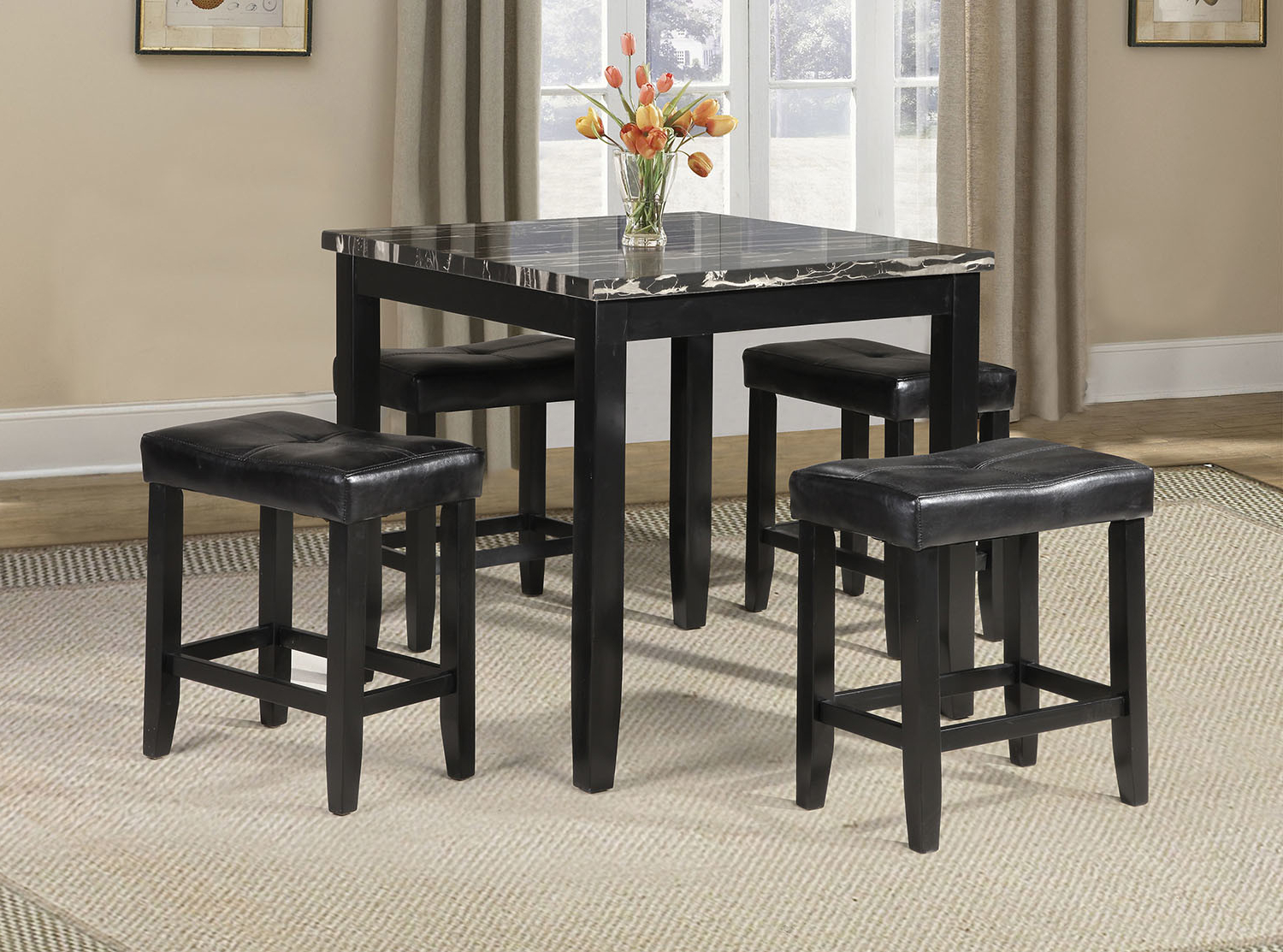 Famous Miskell 3 Piece Dining Sets Within Winston Porter Rayle 5 Piece Counter Height Dining Set (View 2 of 25)