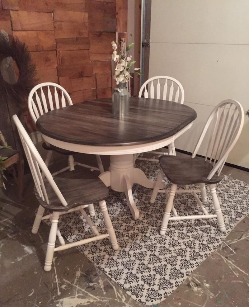 Famous Miskell 5 Piece Dining Sets Inside Snow White Milk Paint With Pitch Black Glaze Effect Dining Set (View 7 of 25)