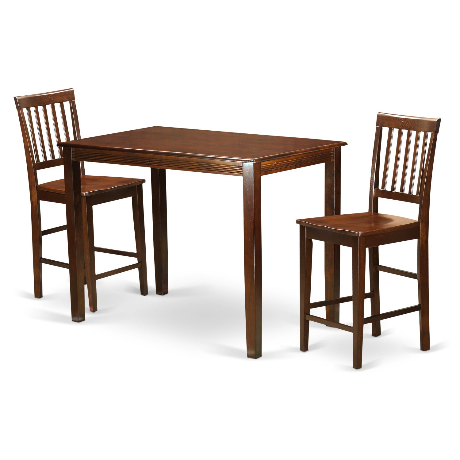 Famous Natural Solid Wood 3 Piece Counter Height Dining Set (View 4 of 25)