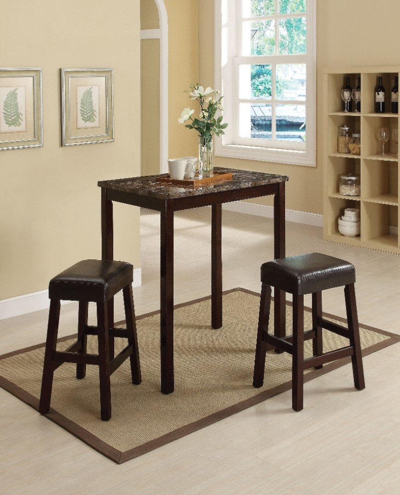 Famous Penelope 3 Piece Counter Height Wood Dining Sets For Winston Porter Port Augusta 3 Piece Counter Height Solid Wood Dining (View 3 of 25)