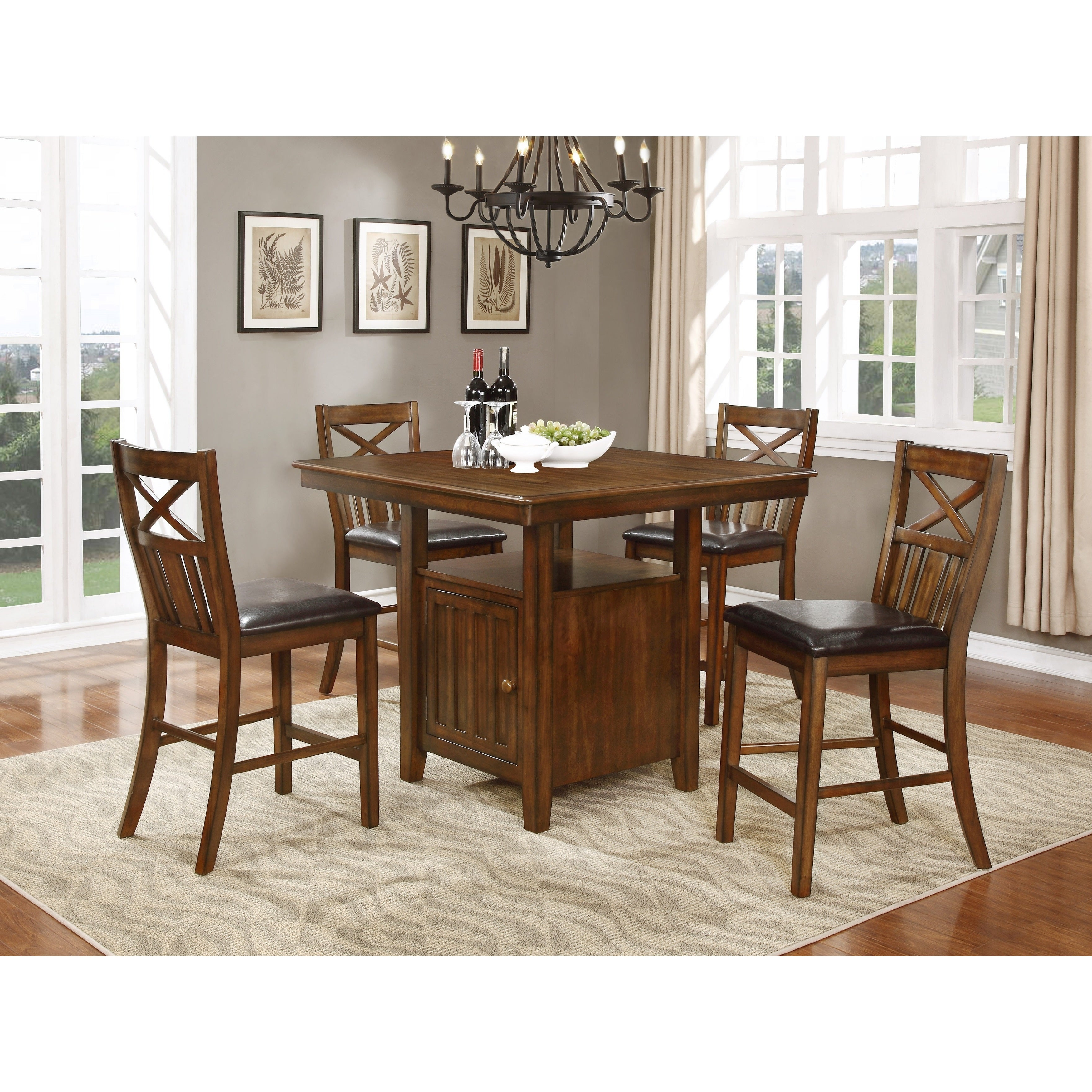 Famous Shop Bryson Cherry Brown Counter Height Dining Table Set W/ Storage With Bryson 5 Piece Dining Sets (View 5 of 25)