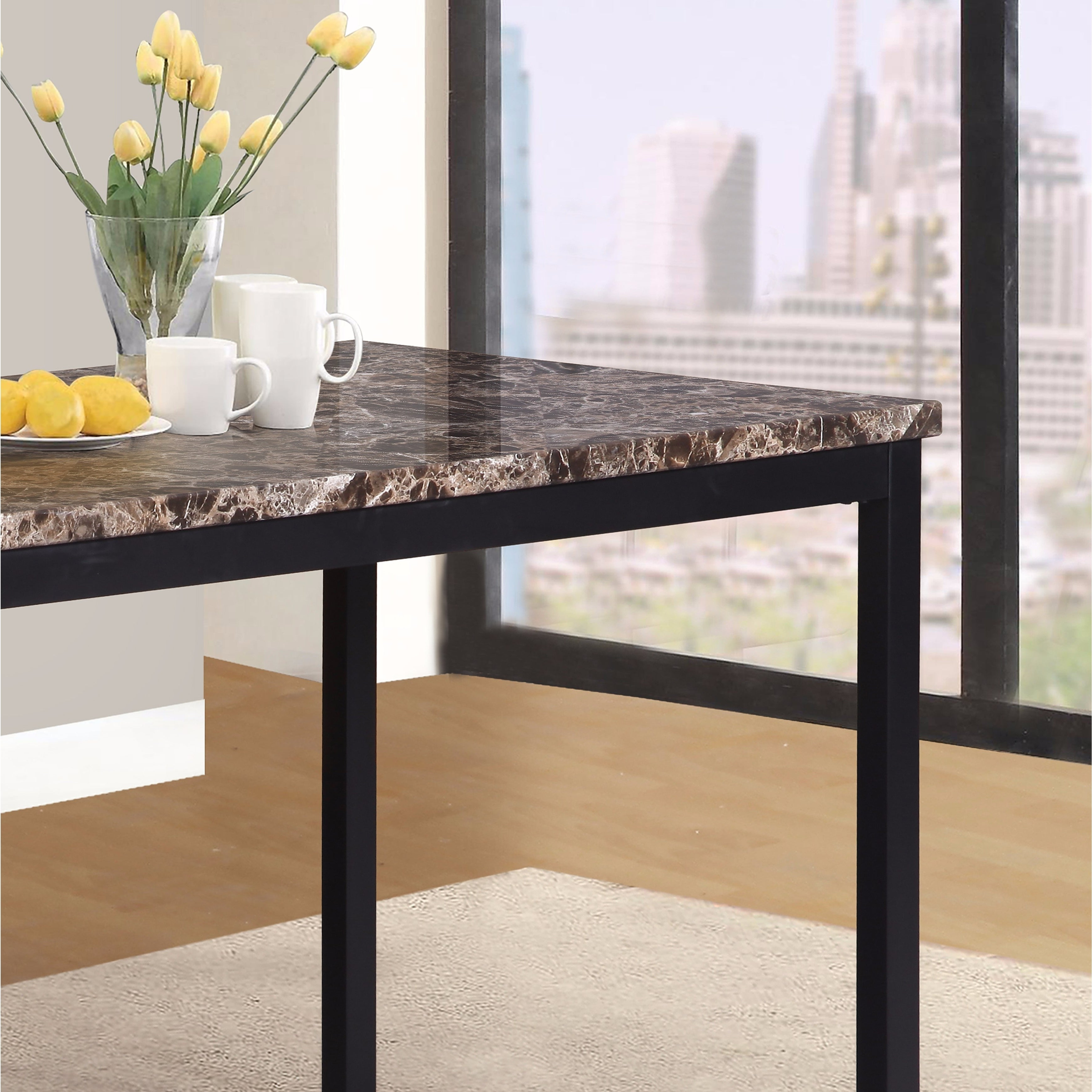 Famous Shop Noyes Metal Dining Table With Laminated Faux Marble Top – Black Pertaining To Noyes 5 Piece Dining Sets (View 9 of 25)
