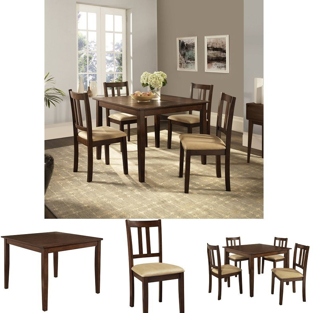 Famous Tavarez 5 Piece Dining Sets Within 5 Piece Dining Set Square 4 Chairs Brown Wood Look Modern Furniture (View 22 of 25)