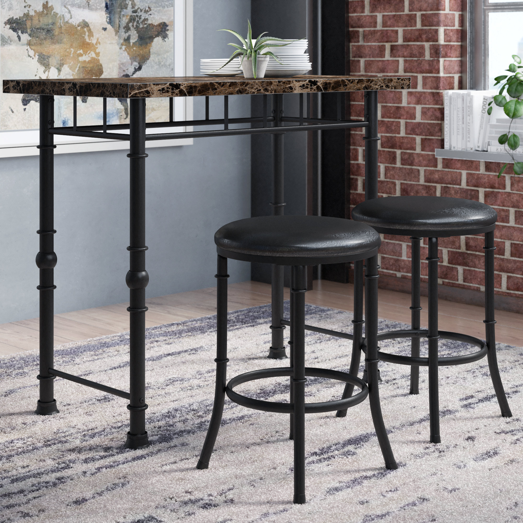 Famous Williston Forge Giles 3 Piece Dining Set & Reviews (View 7 of 25)