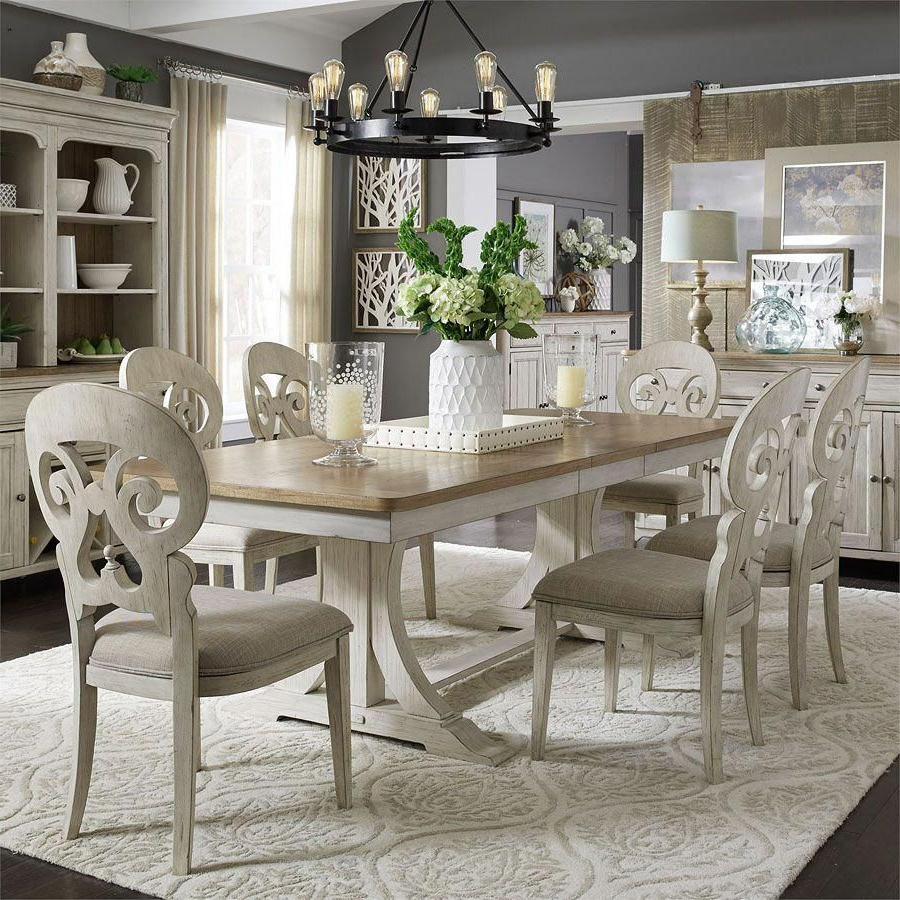 Farmhouse Reimagined Rectangular Dining Set W/ Splat Back Chairs In Pertaining To Recent Mitzel 3 Piece Dining Sets (View 4 of 25)