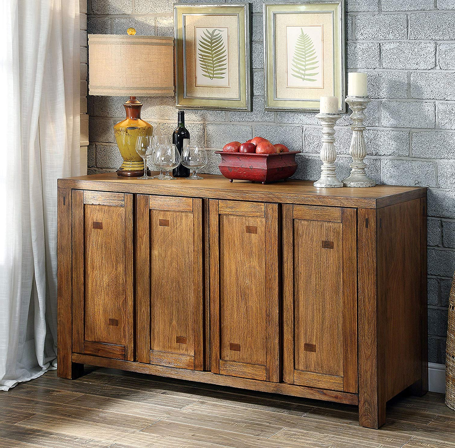 Fashionable Amazon – Furniture Of America Maynard Wooden Dining Buffet In Maynard 5 Piece Dining Sets (View 5 of 25)