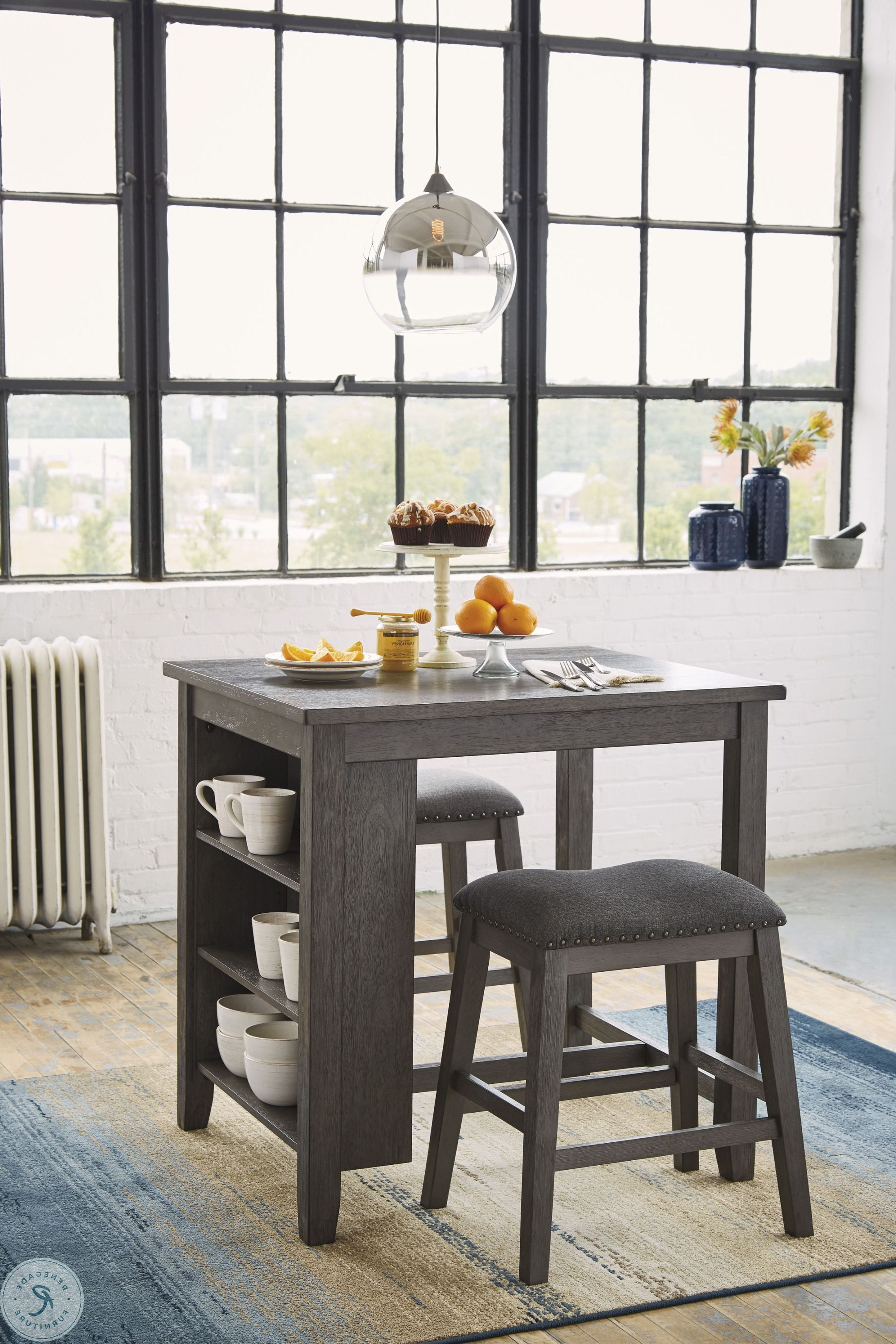 Fashionable Foskey Antique Black Round Bar Table From Furniture Of America Regarding Anette 3 Piece Counter Height Dining Sets (View 15 of 25)